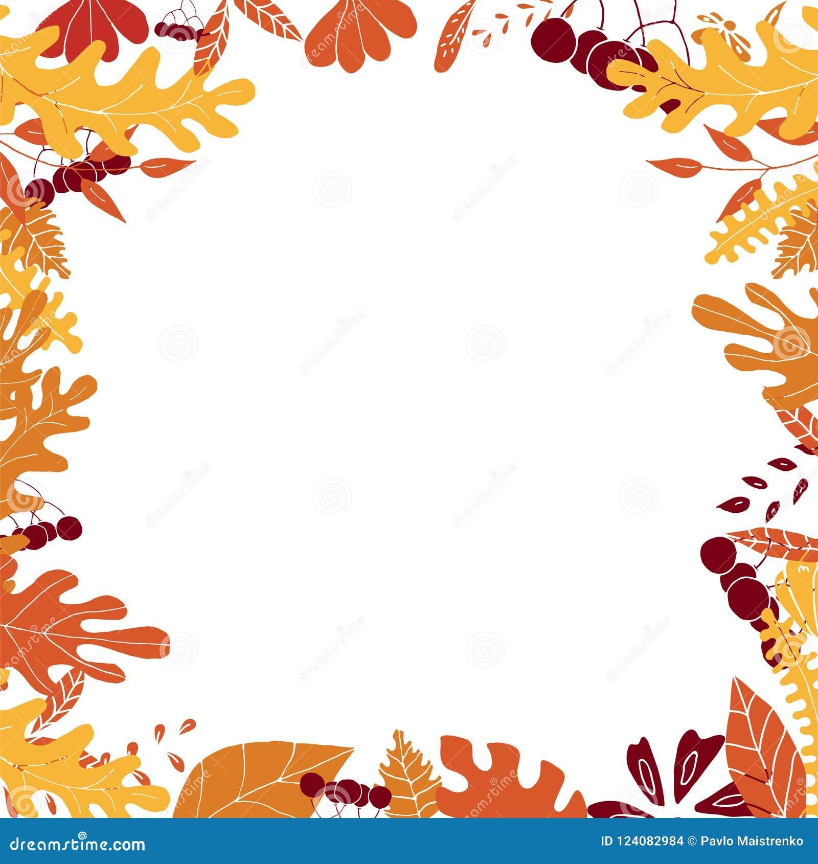 Jesieni rama z kolorowymi liśćmi i jagodami Opróżnia przestrzeń wśrodku ramy