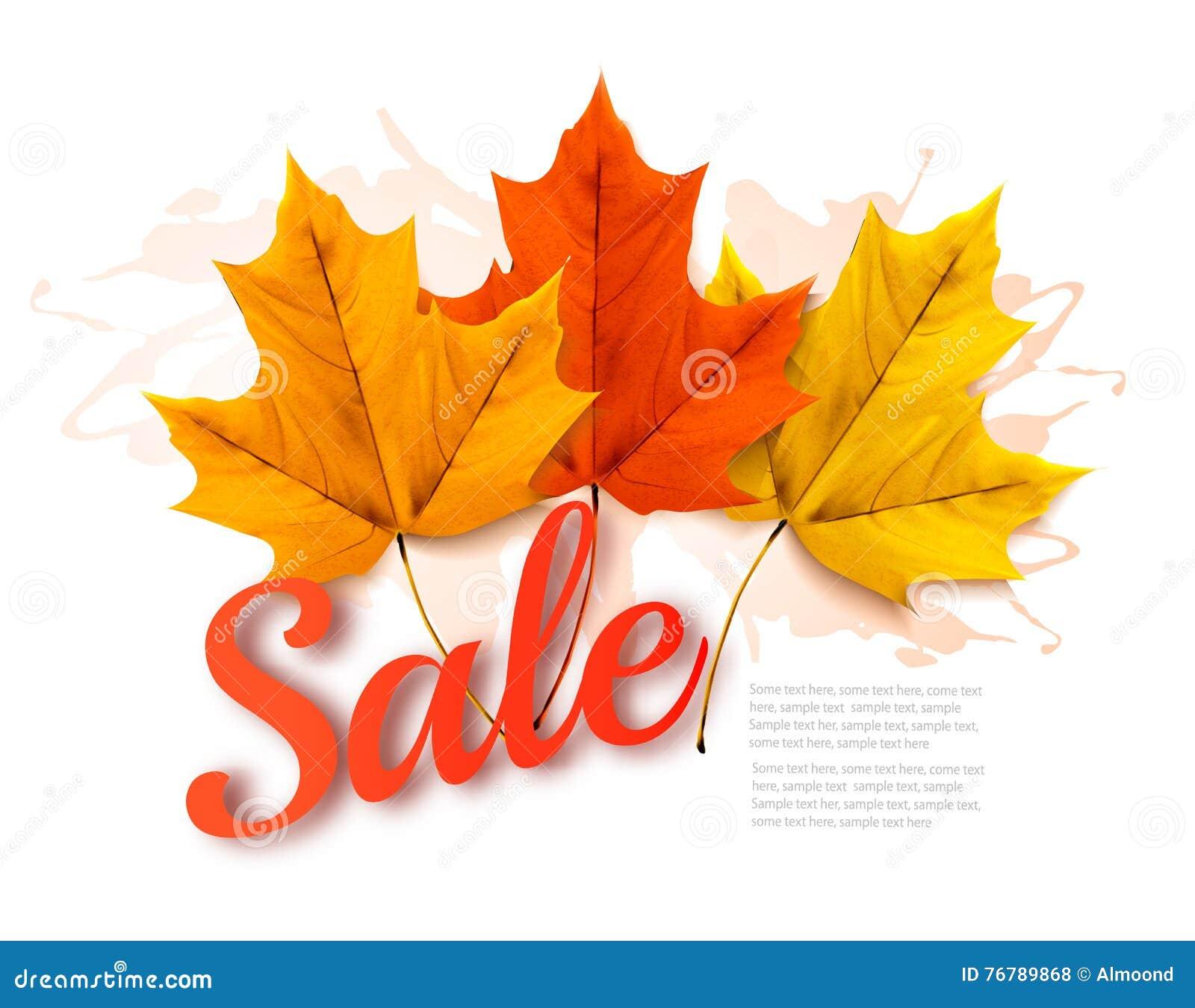Jesieni sprzedaży sztandar Z Kolorowymi liśćmi