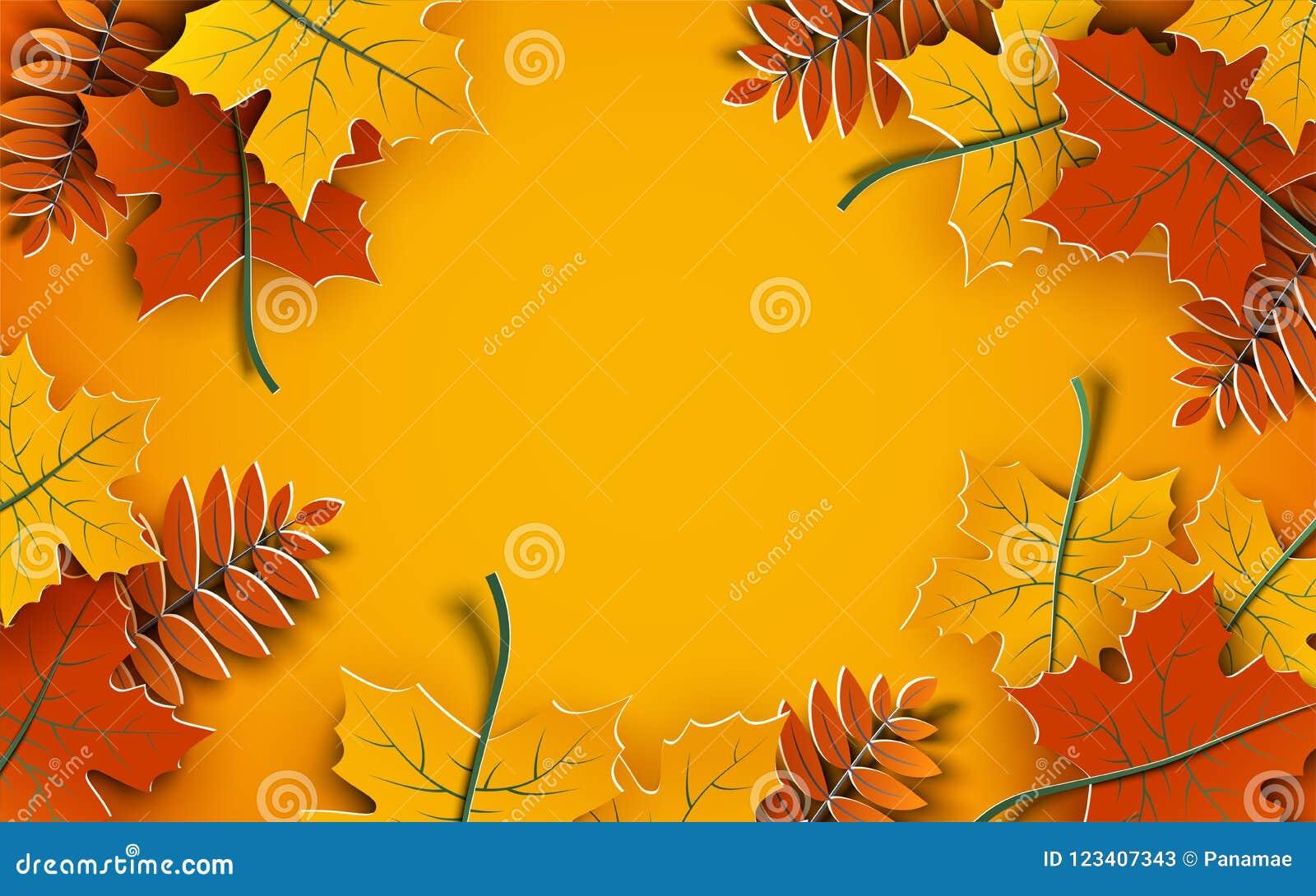 Jesieni tło, drzewo papieru liście, żółty tło, projekt dla sezon jesienny sprzedaży sztandaru, plakat, dziękczynienie dnia kartka