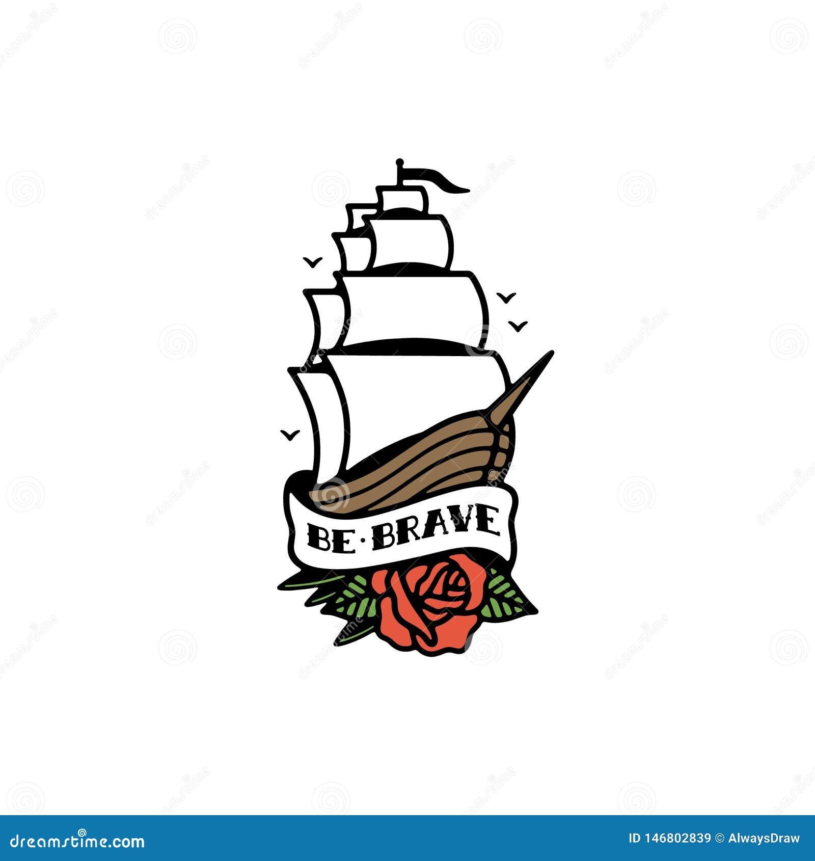 JEST ODWAŻNEGO statku tatuażu koloru TRADYCYJNYM bielem