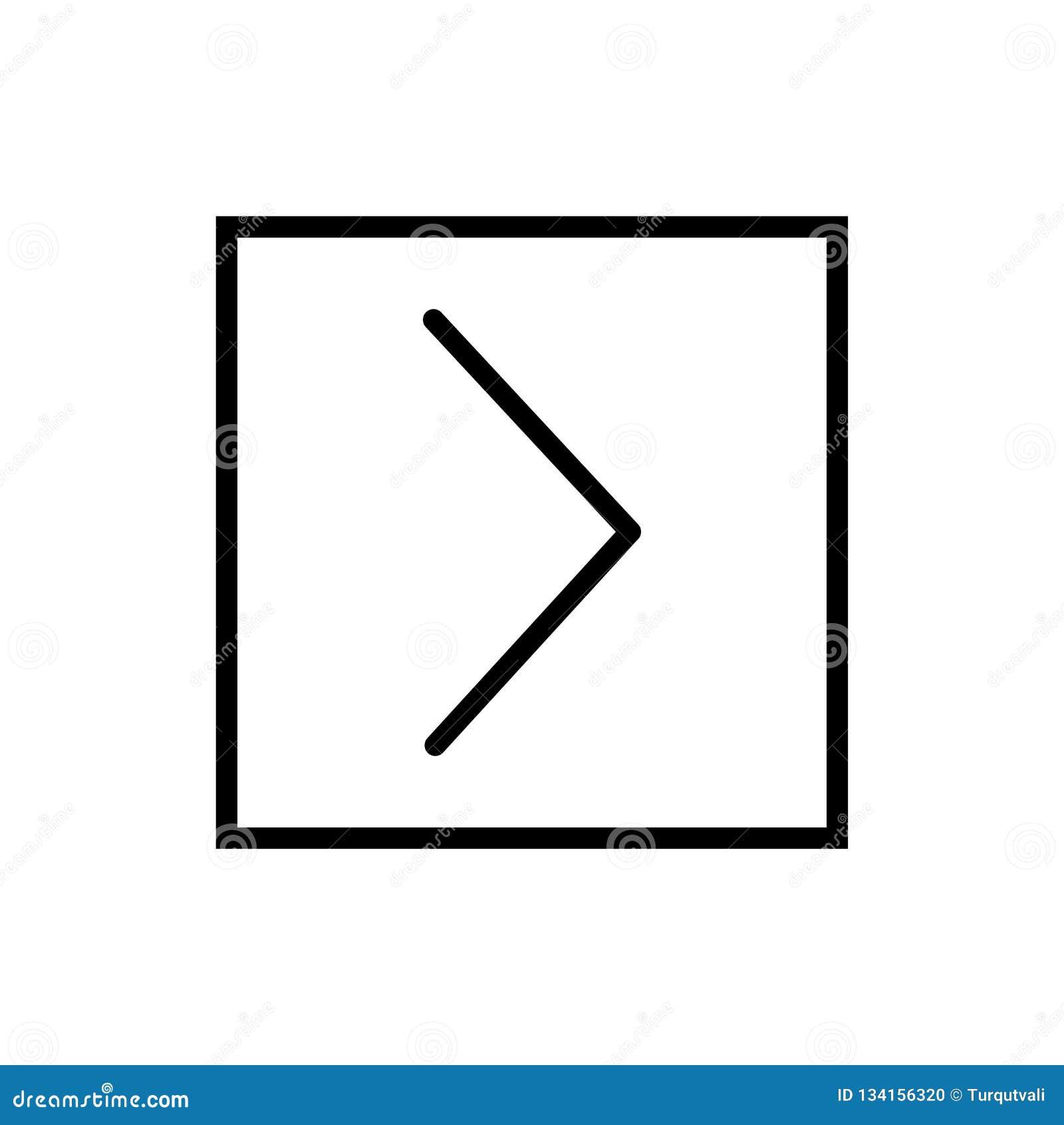 Jest, Jest większy niż ikona wektor odizolowywający na białym tle, większy niż znaka, linii i konturu elementami w liniowym stylu