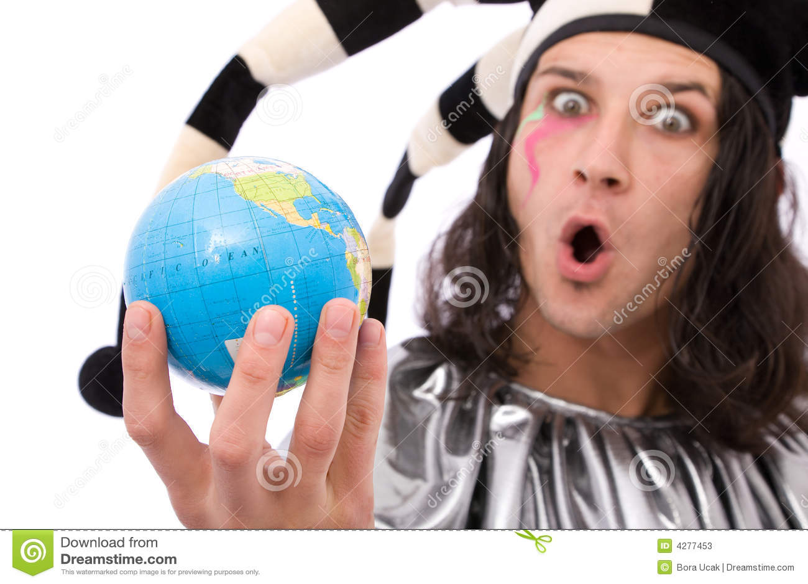 Jester engraçado com globo