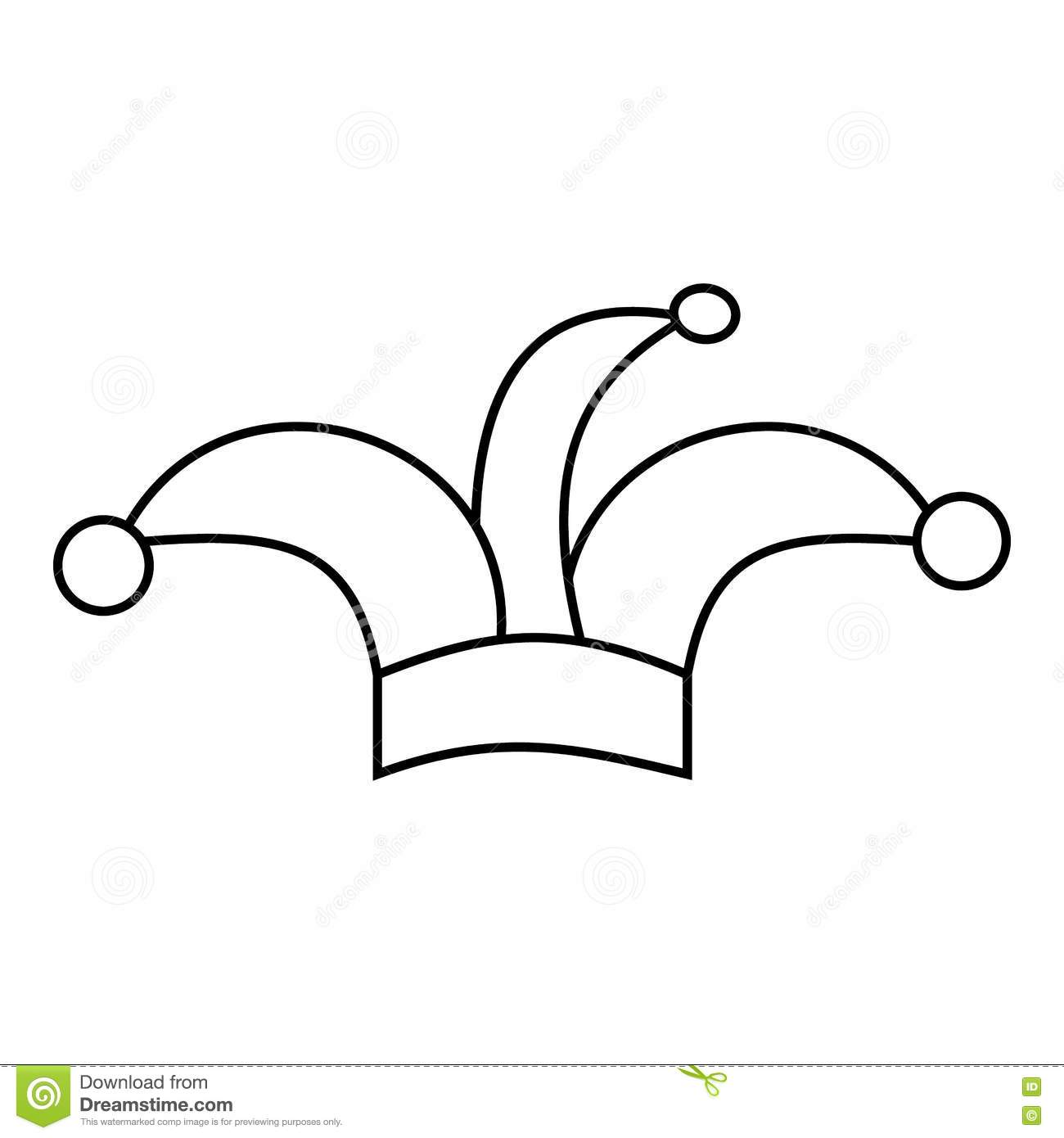 Jester Hat Icon Outline Style Stock Vector Illustration Of