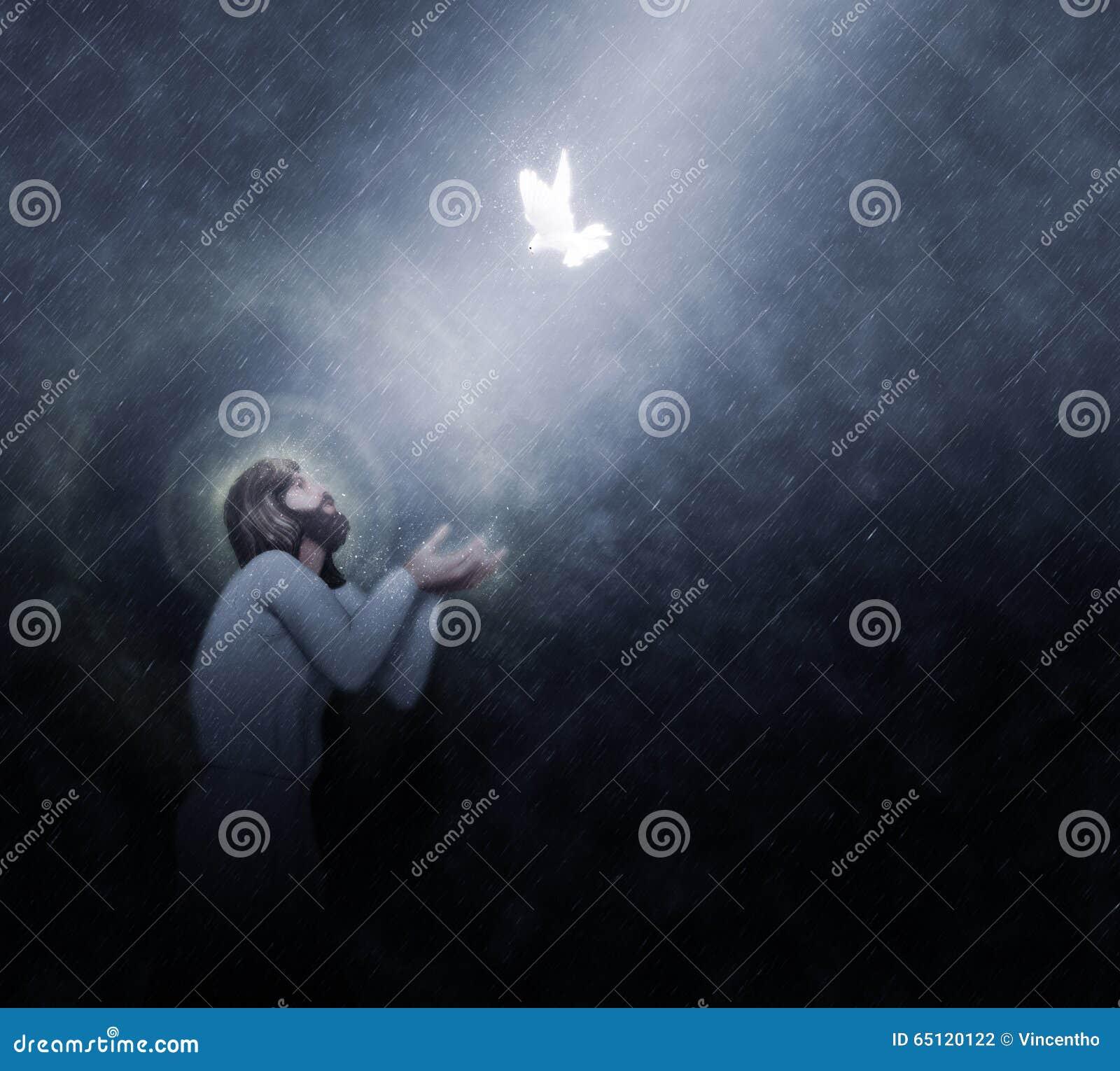 jesus baptism by the heavens rain illustration stock illustration