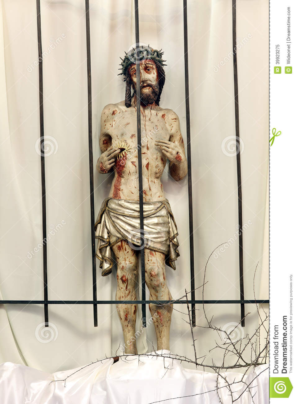 Jesus Behind Bars In Prison Wooden Figure Of Jesus In The