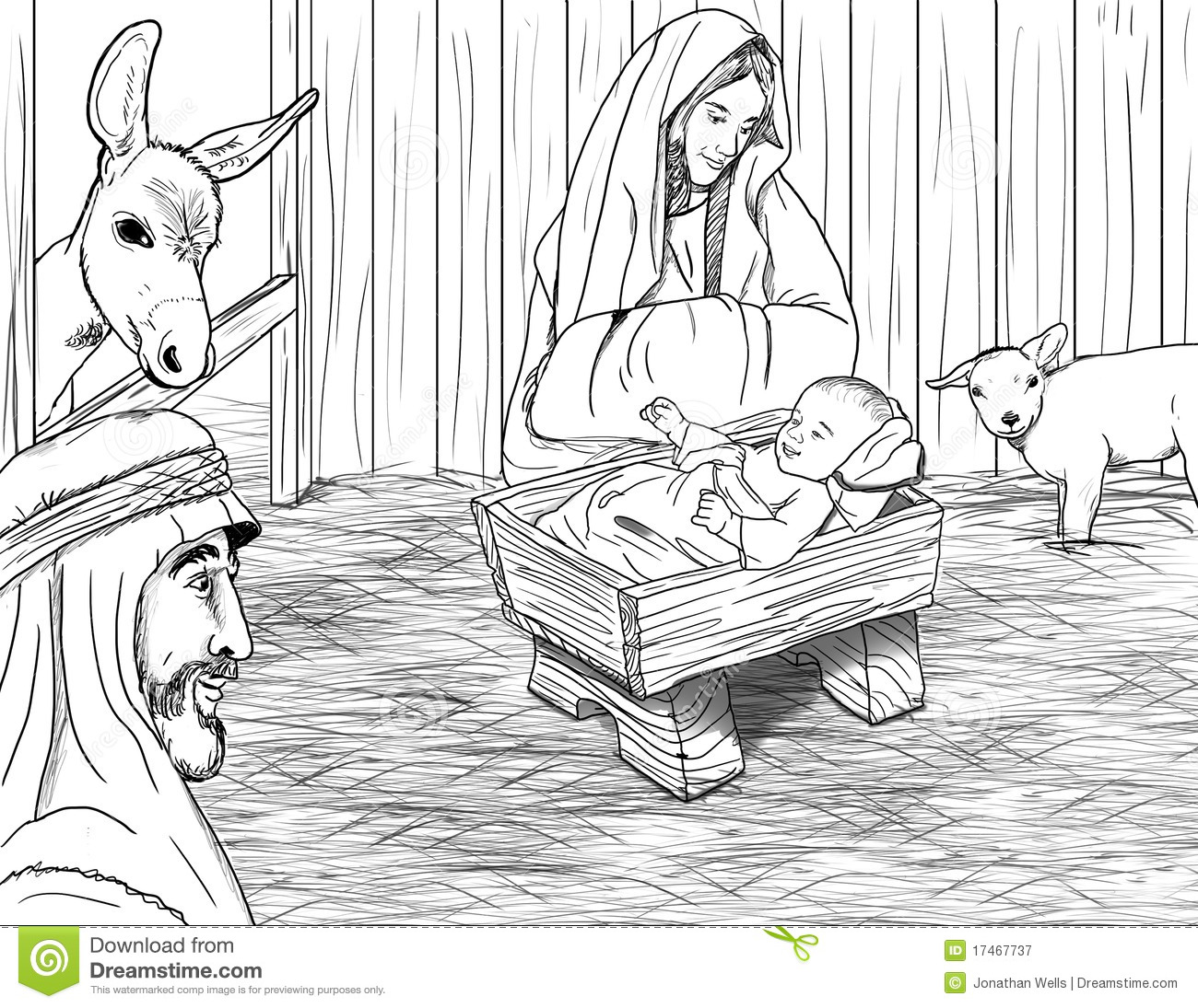 Jesus Born In Manger Stock Illustration Image Of Cattle