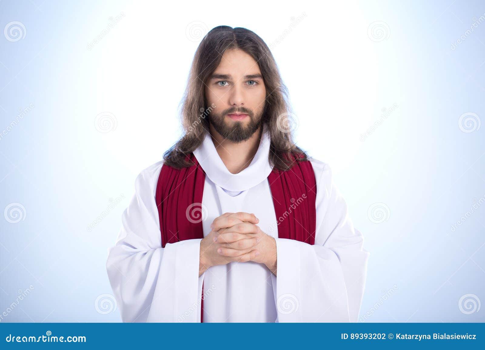 Jesus calmo que diz a oração