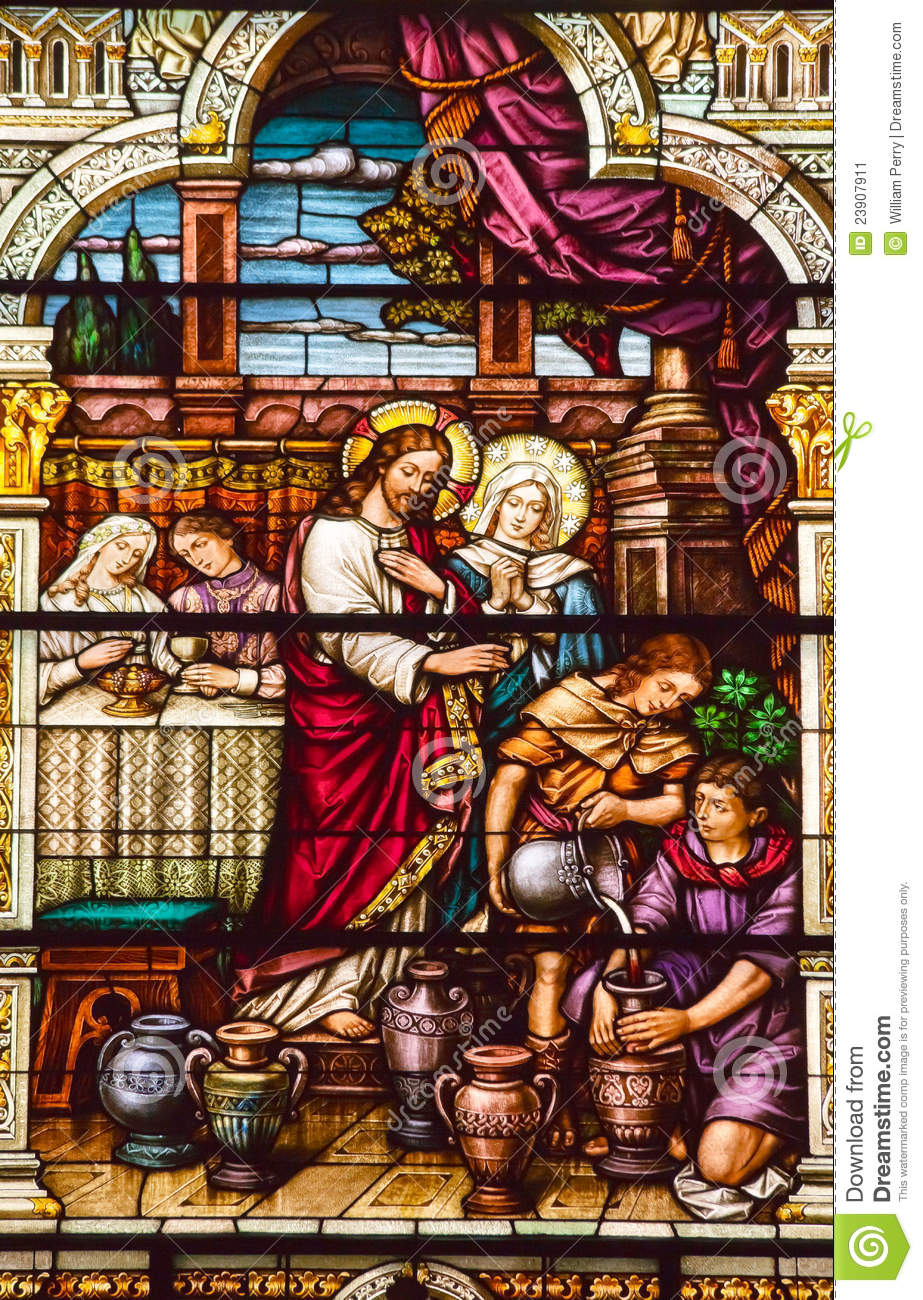 Jesus Cana Stained Glass S Peter Paul Church Stock Image