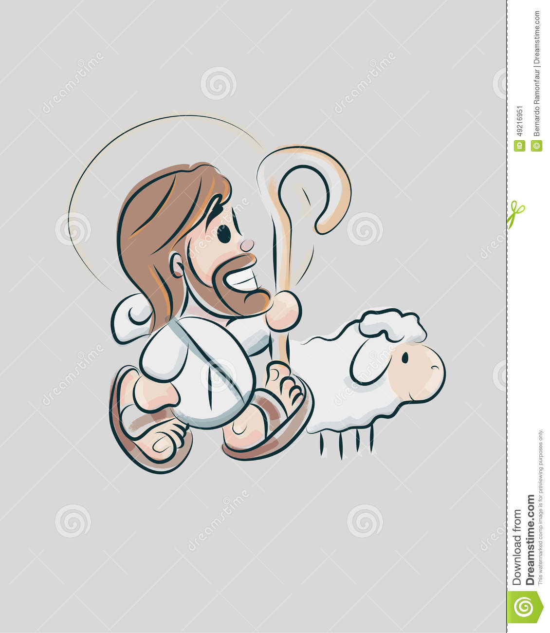 ... of a smiling Jesus Good Shepherd with a sheep in a cartoon style
