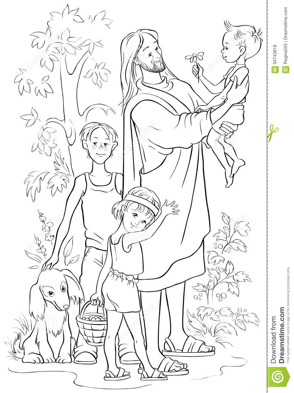 Jesus With Children. Coloring Page Stock Vector - Illustration of ...
