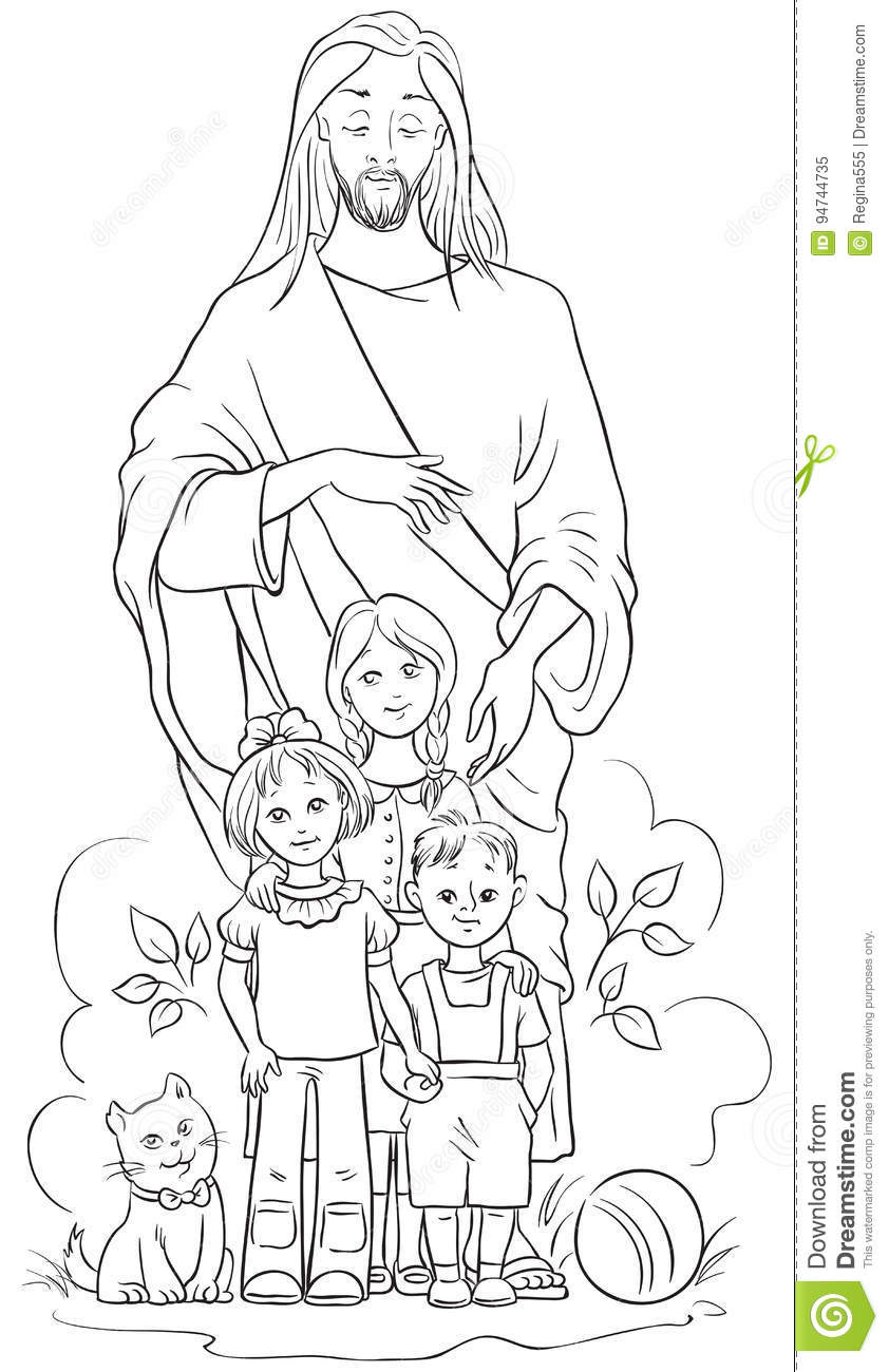 Jesus With Children. Coloring Page Stock Vector ...