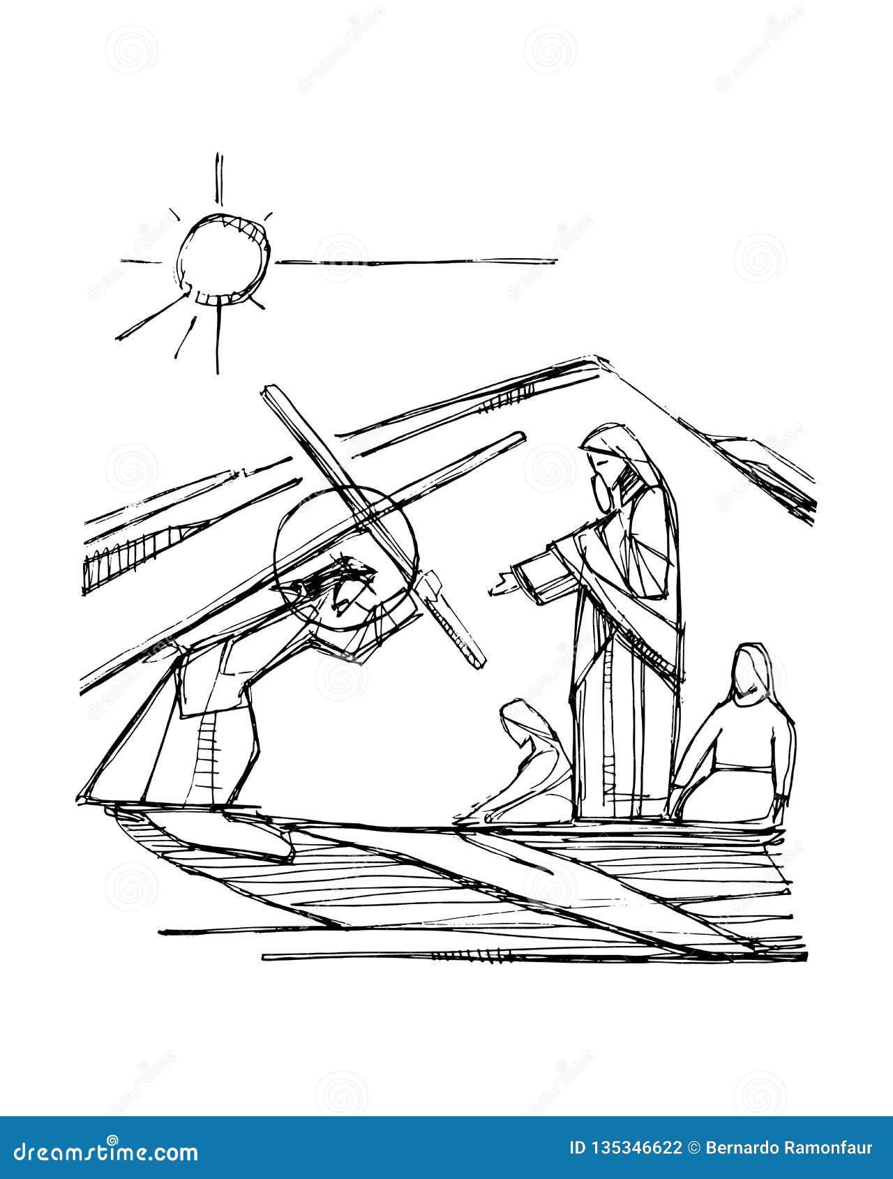 Jesus Christ bij zijn Hartstochtsillustratie