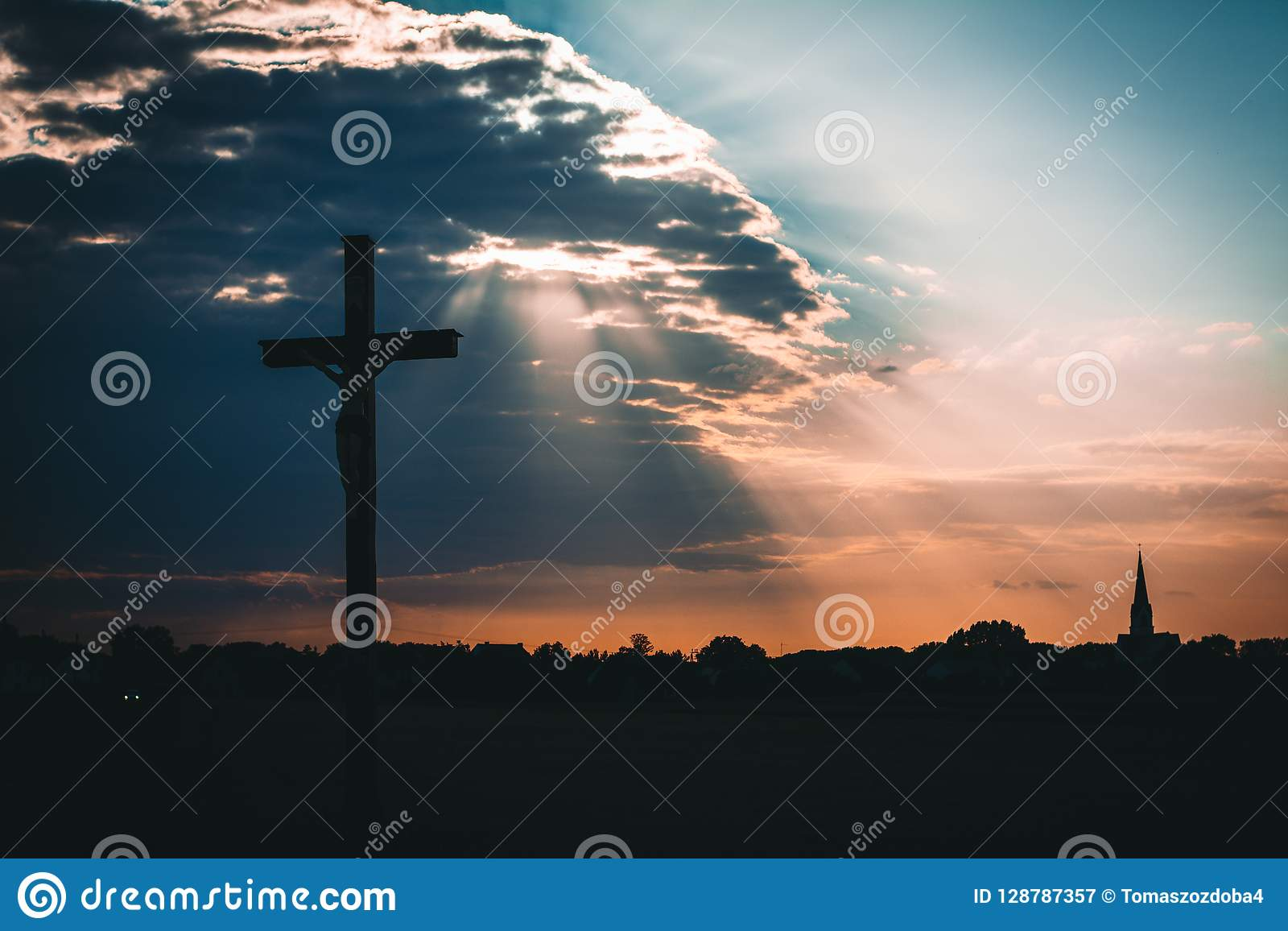 Jesus Christ On Cross Sunset Stock Image Image Of Silhouette
