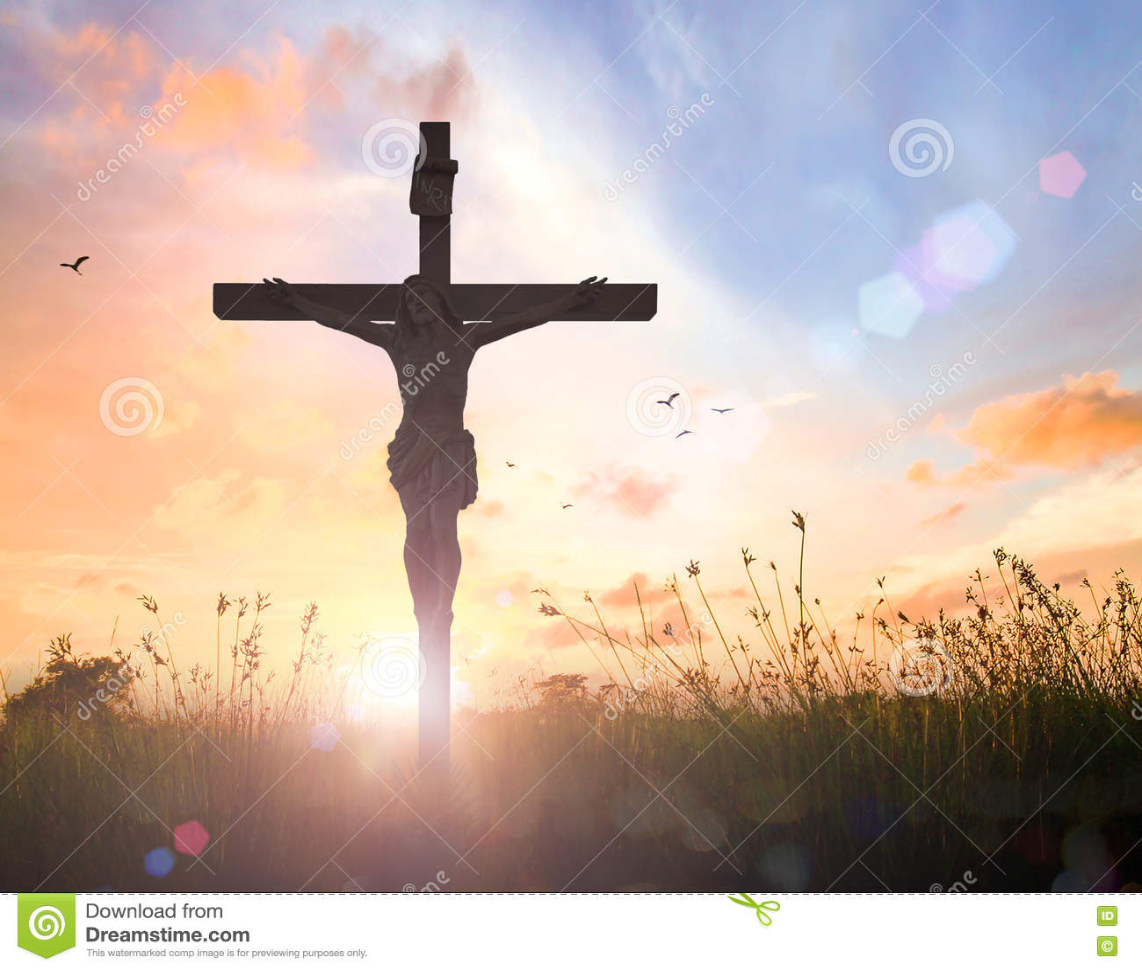 jesus christ on the cross on sunset stock photo image 73336924