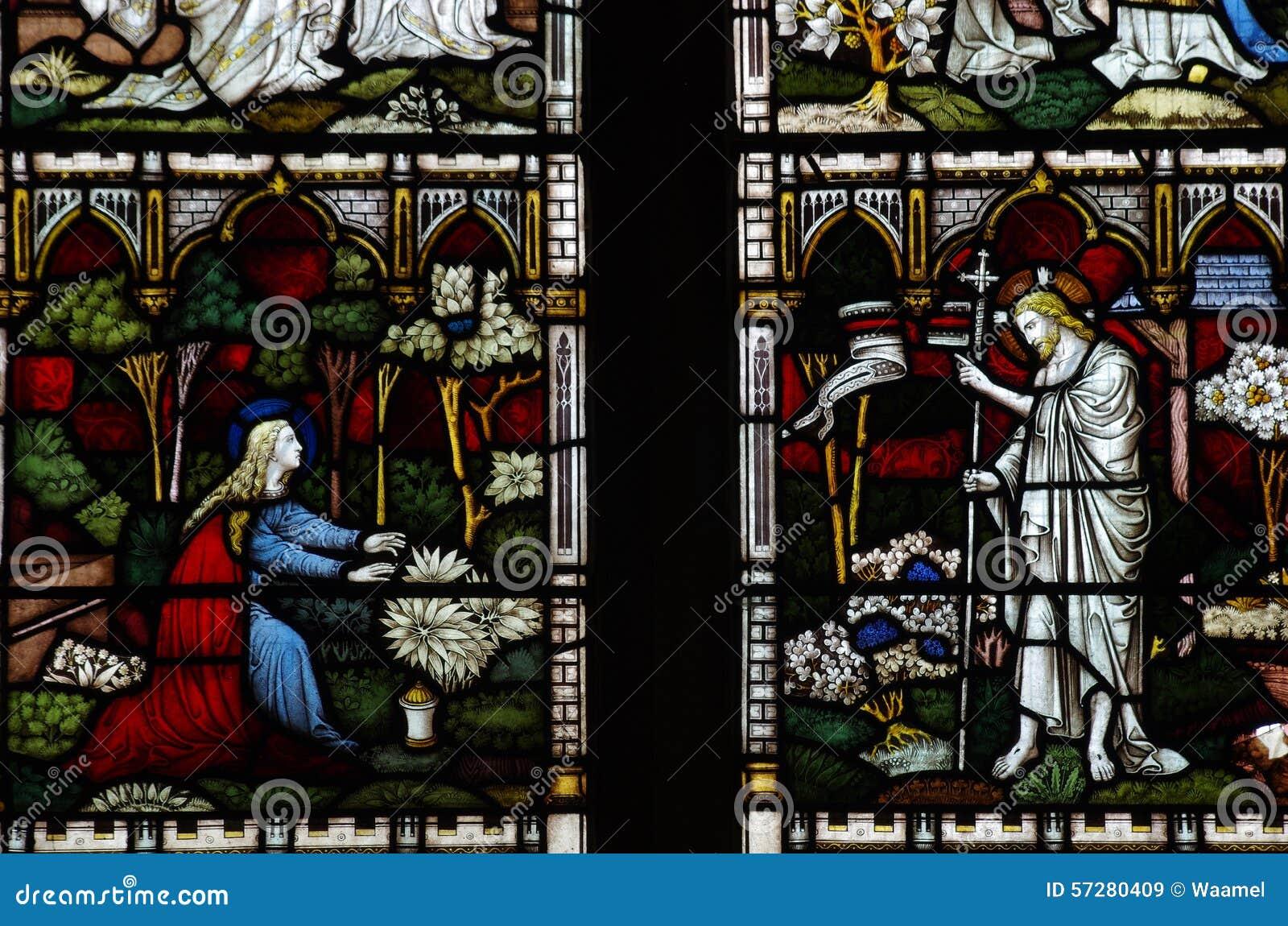Jesus Christ e Mary Magdalene no vitral