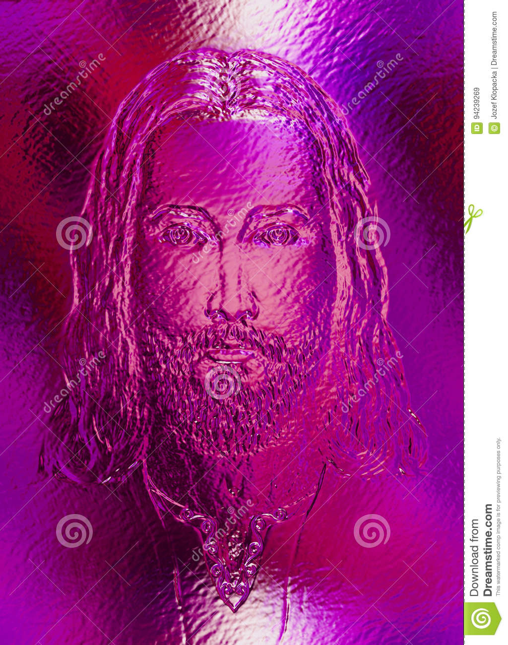 Jesus Christ, Glass And Metal Structure. Eye Contact. Stock ...