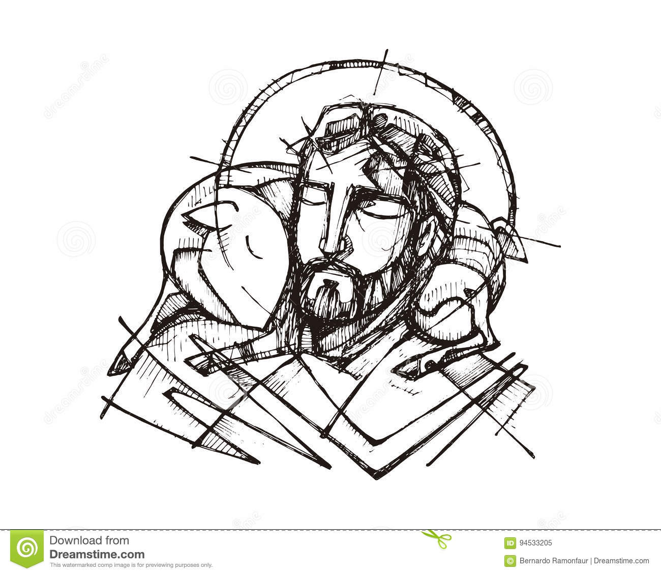 Jesus Christ Good Shepherd Illustration De Vecteur Illustration