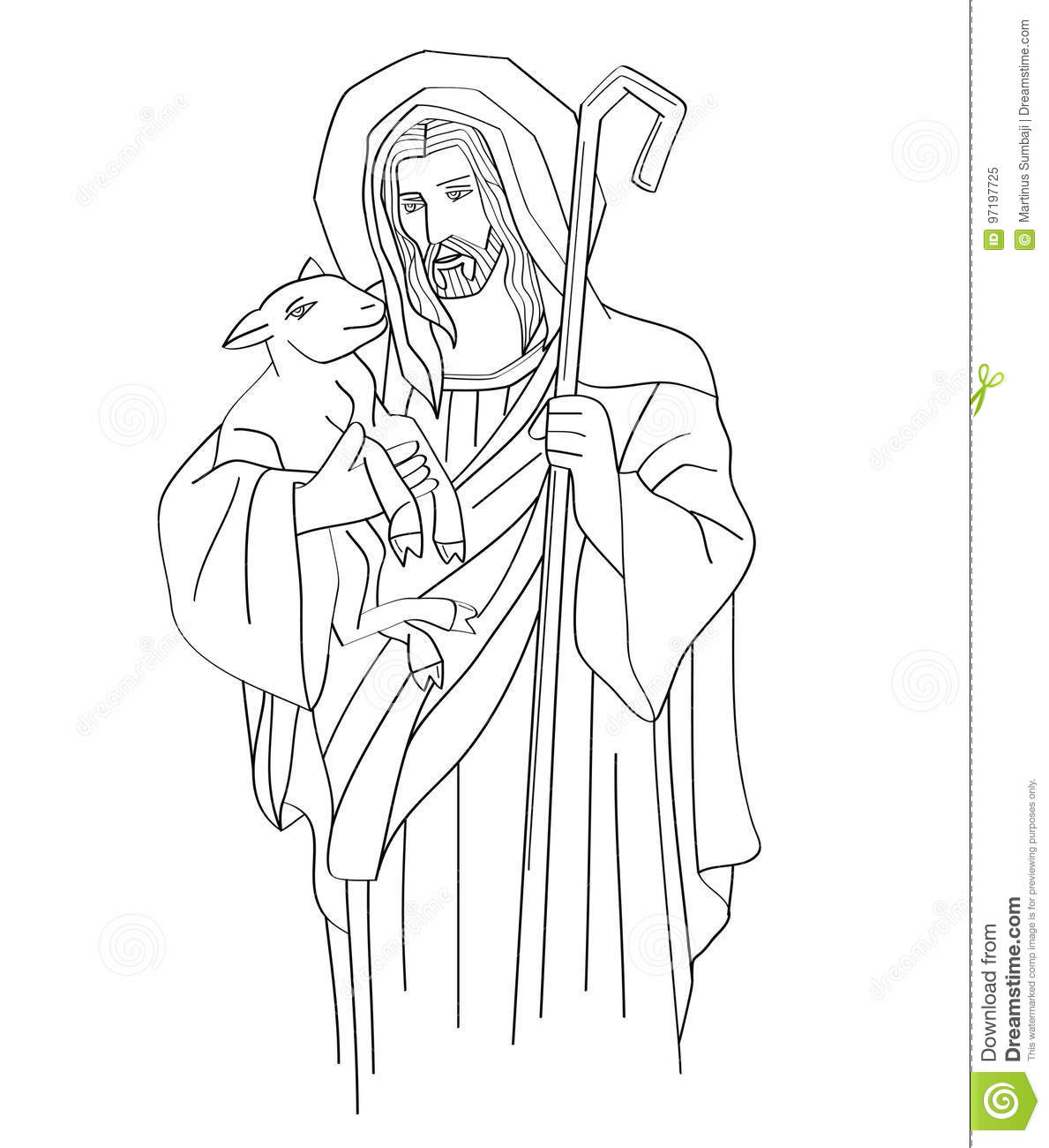 Download Jesus Christ Is The Good Shepherd, Art Sketch Or Drawing Stock  Vector   Illustration