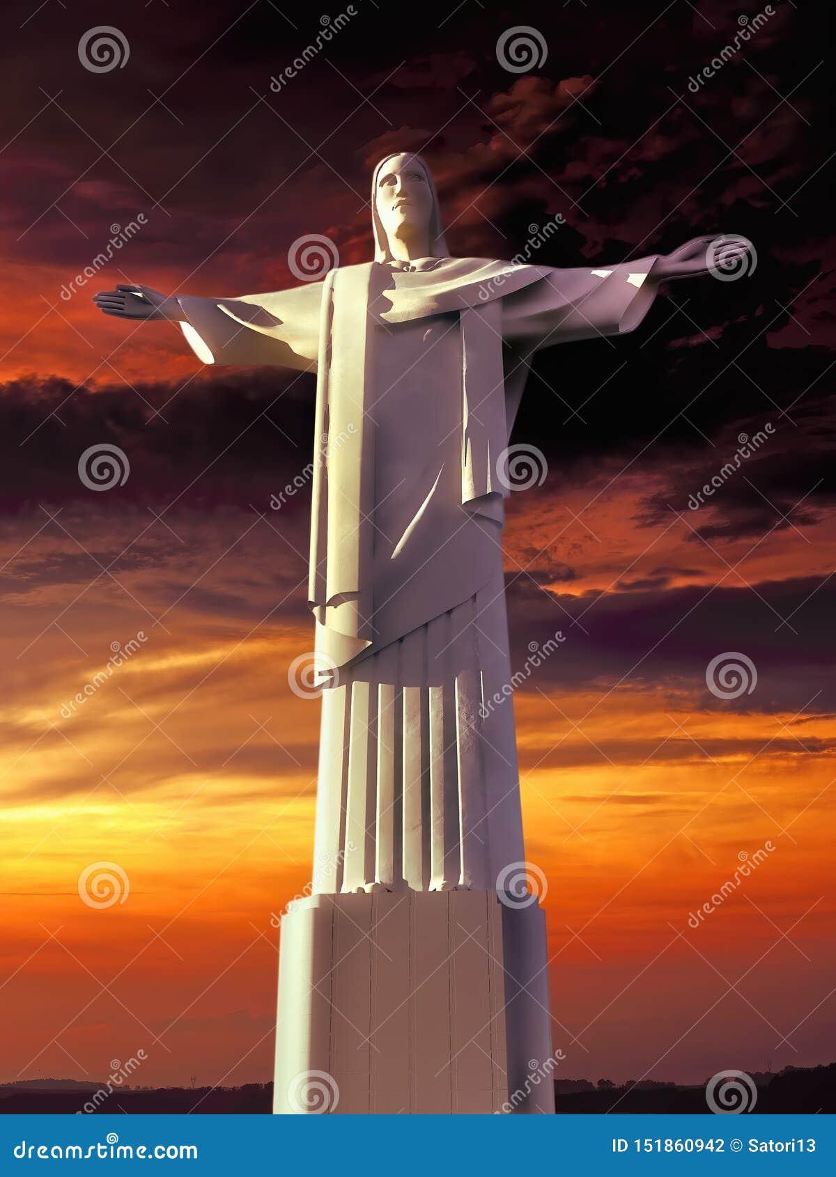Jesus Christ-monument die baai het 3d teruggeven overzien