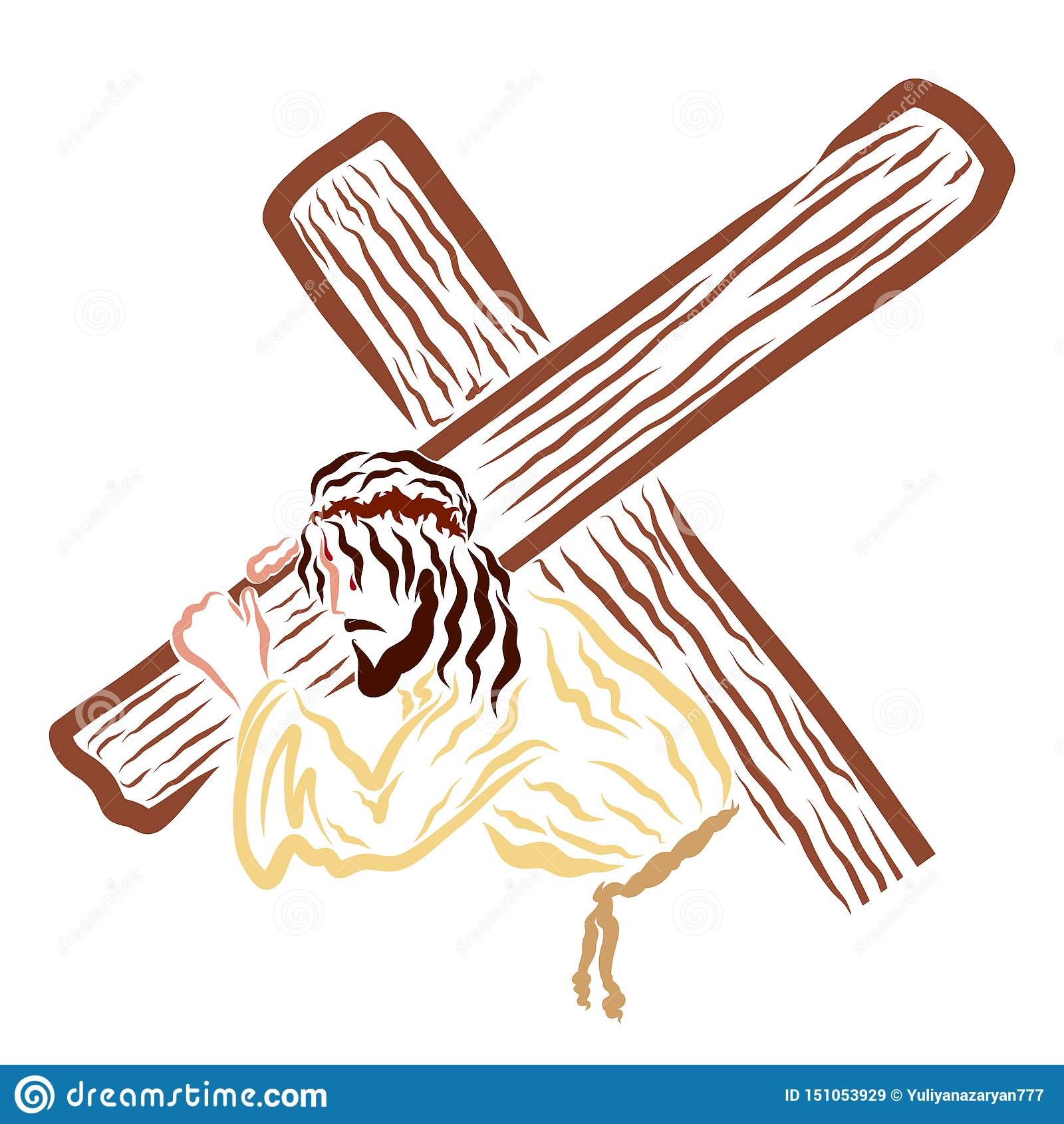 Jesus Christ que lleva la cruz al Calvary