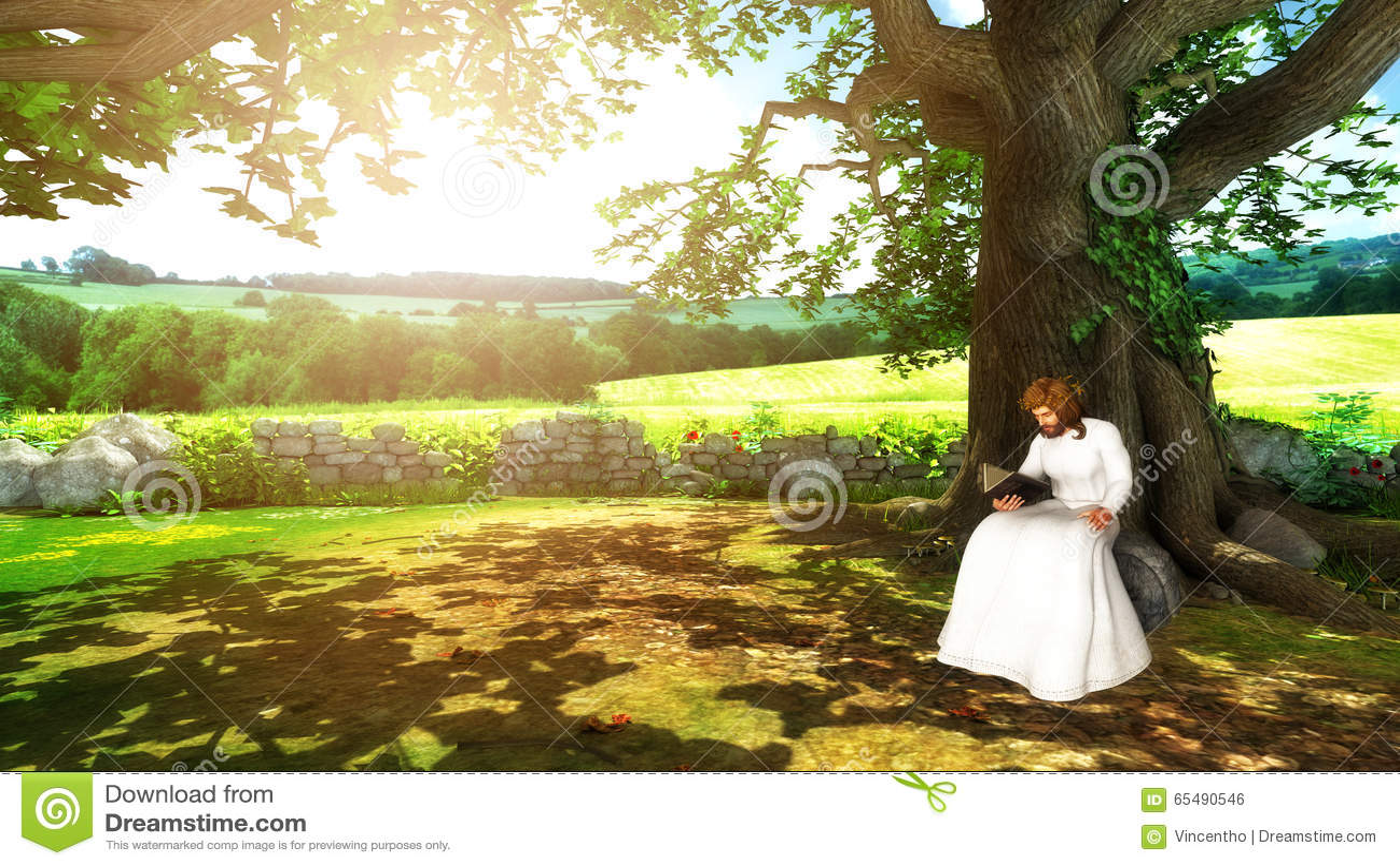 Jesus Christ Reading Bible Under A Tree Illustration Stock