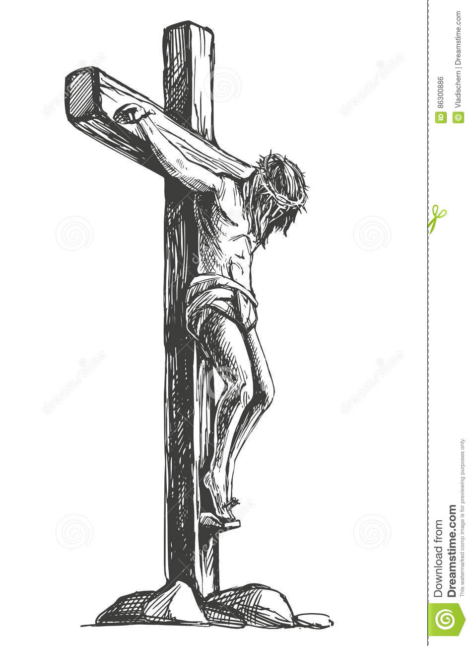 Jesus christ the son of god in a crown of thorns on his head a jesus christ the son of god in a crown of thorns on his head a symbol of christianity hand drawn vector illustration buycottarizona Image collections