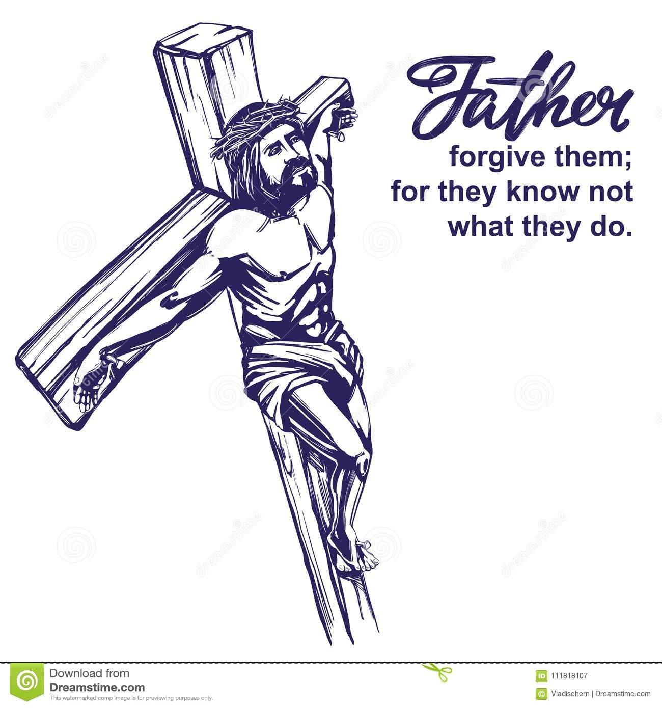 Jesus Christ The Son Of God Crucified On A Wooden Cross Symbol