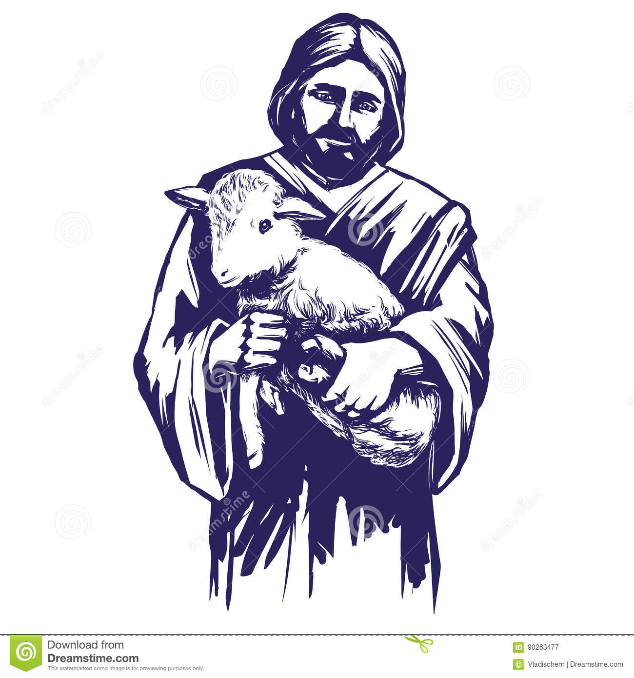 Jesus Christ Son Of God Holding A Lamb In His Hands Symbol Of