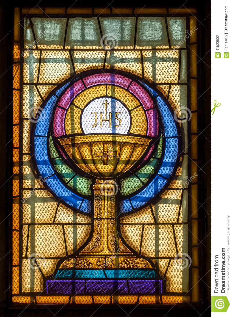 jesus christ symbol in stained glass stock photo