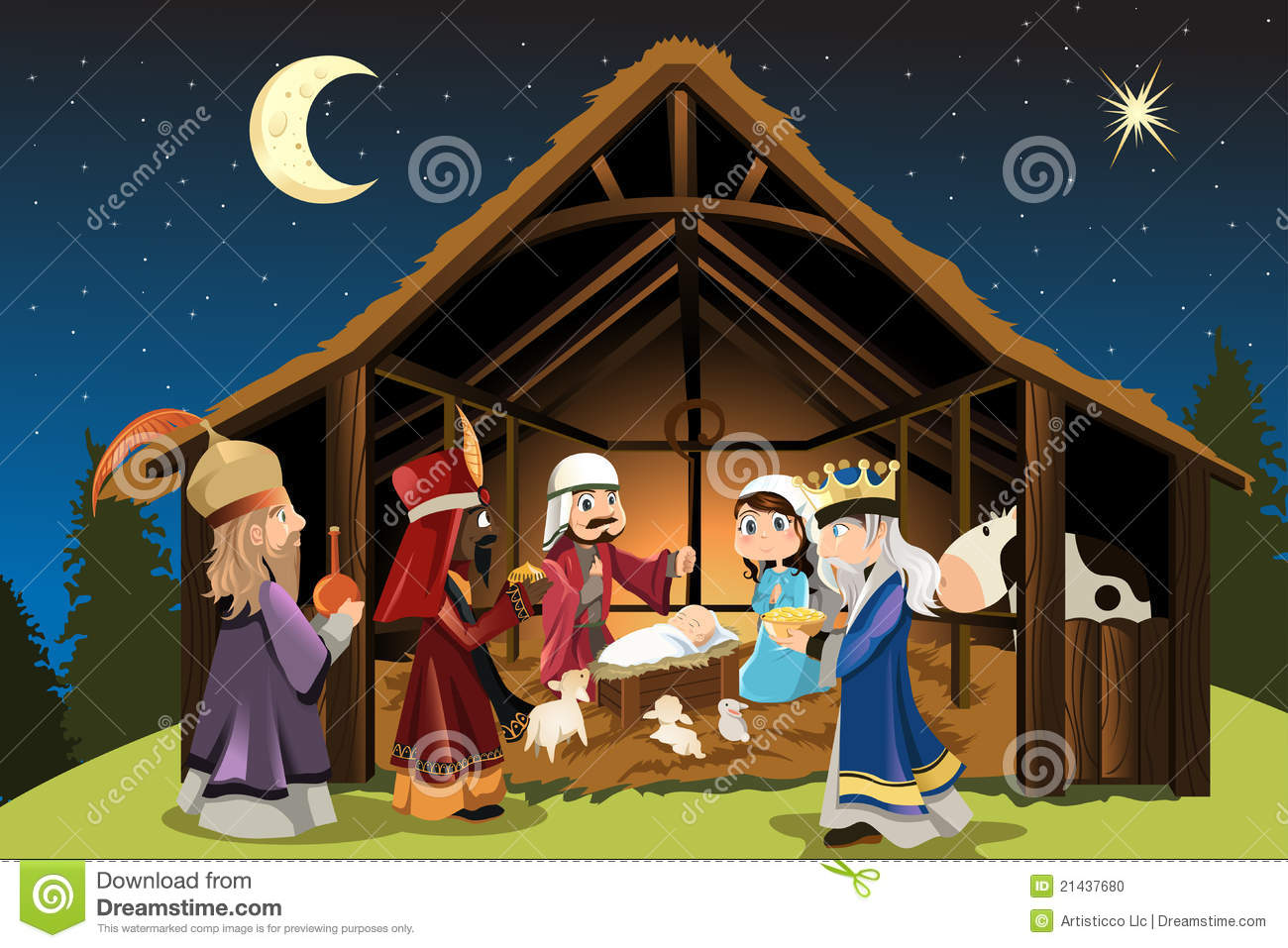Jesus christ with joseph and mary accompanied by the three wise men