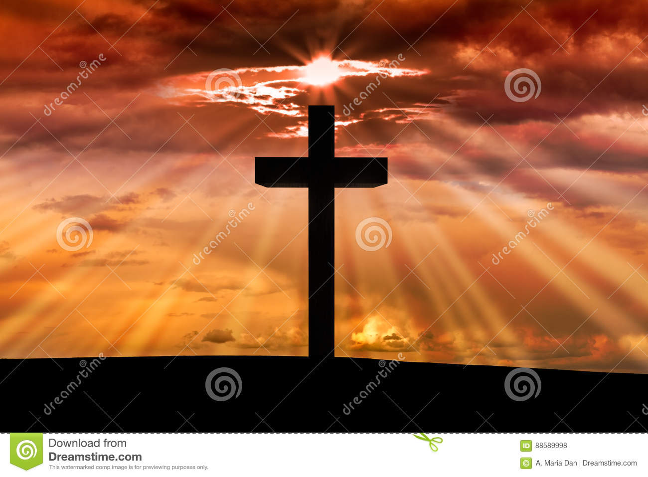 Jesus Christ wooden cross on a scene with dark red orange sunset,
