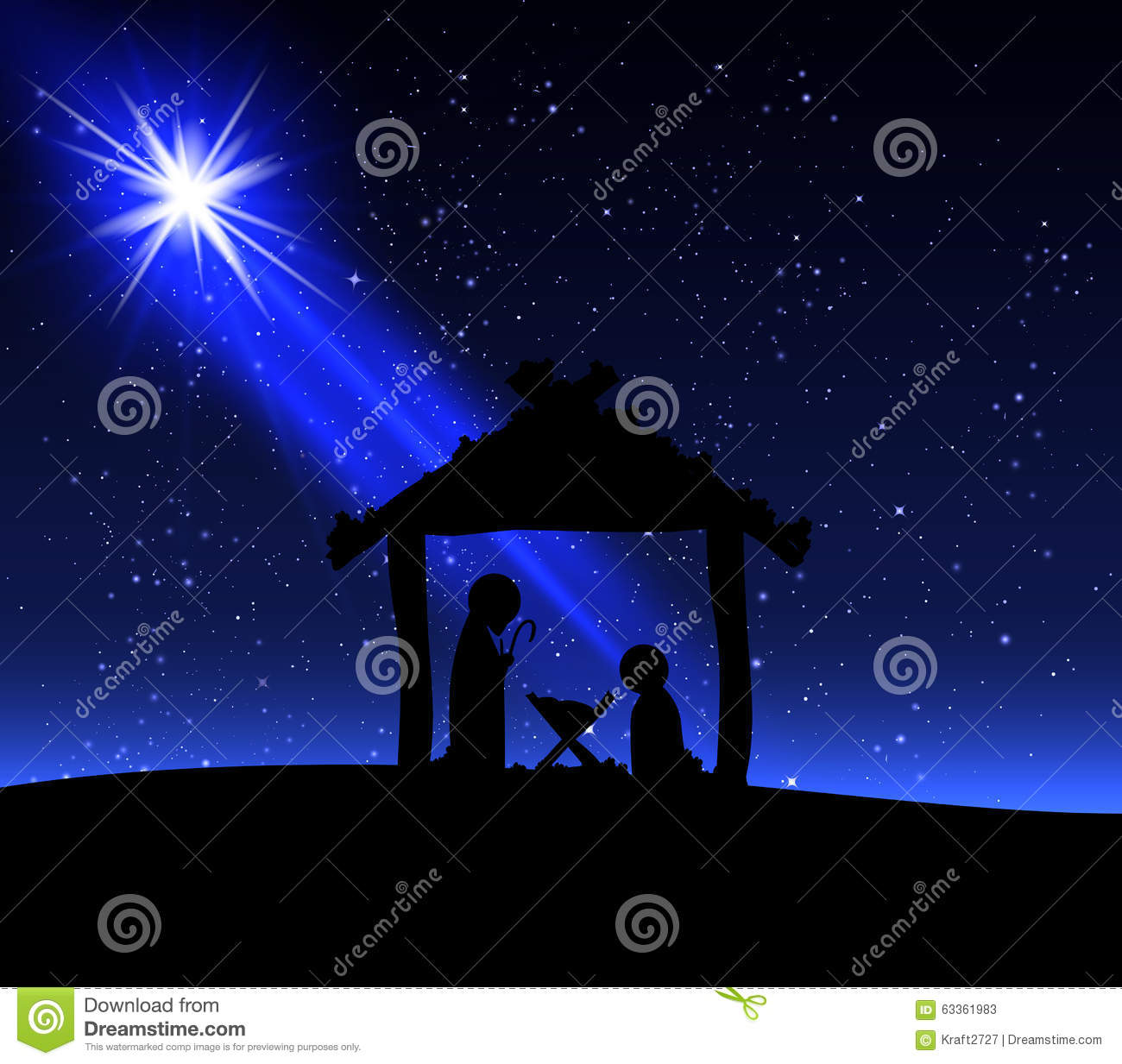 Jesus on Christmas night stock vector. Illustration of christ - 63361983