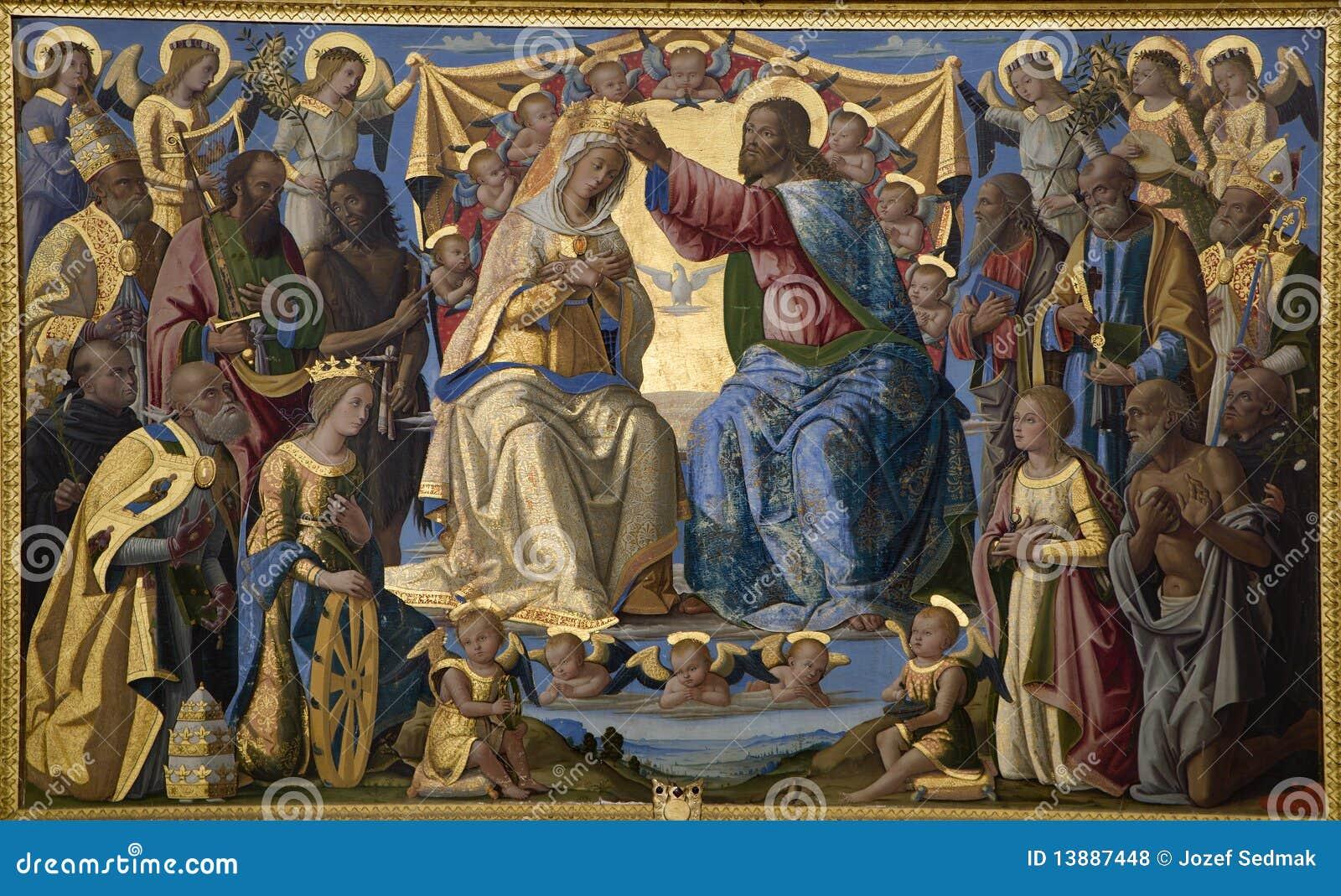 Jesus-Christus en kroning van heilige Mary - Siena