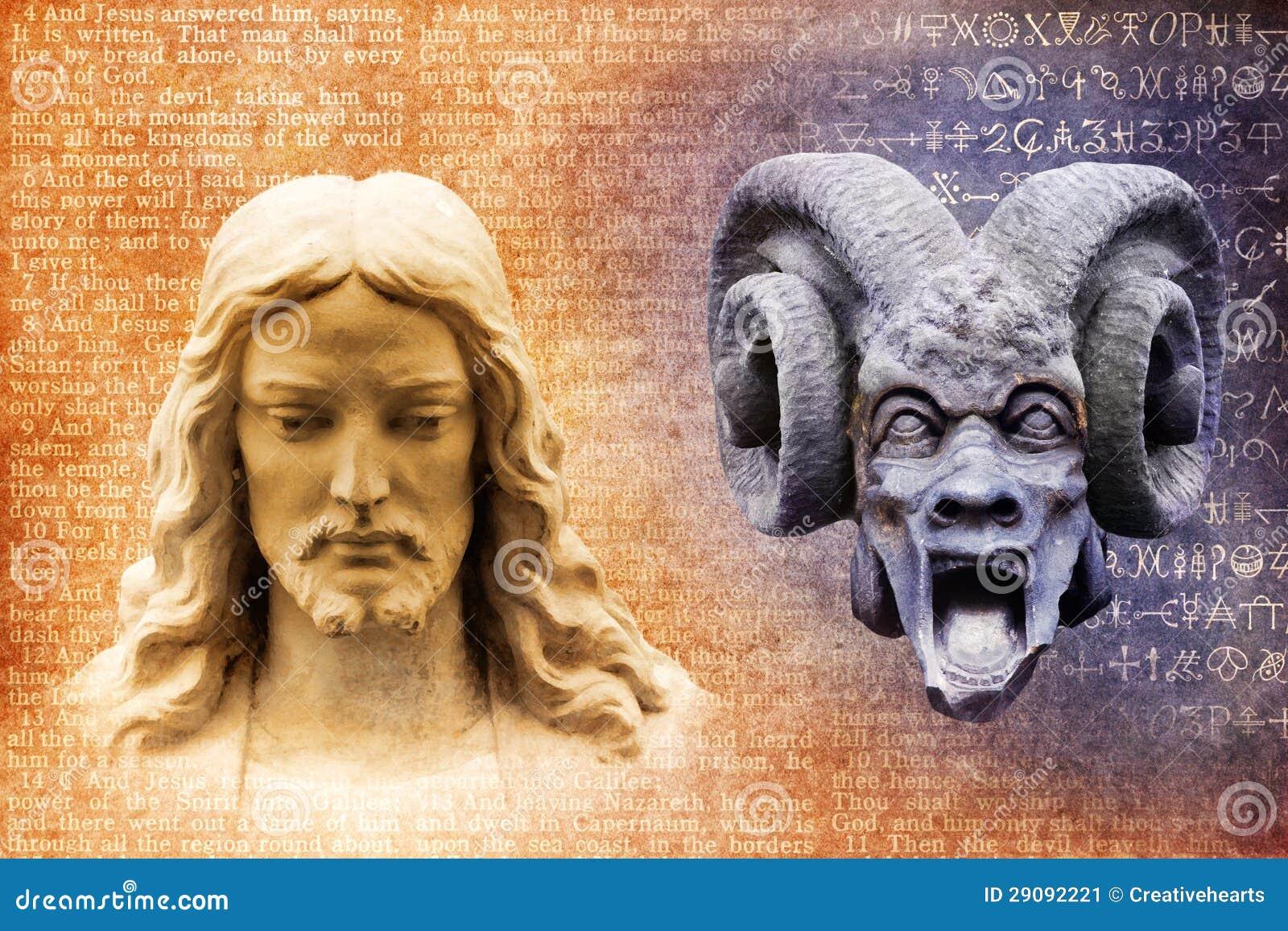 Jesus Christus und Satan der Teufel