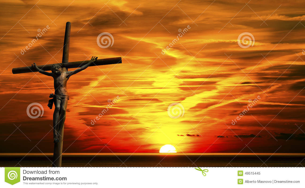 Jesus On The Cross At Sunset Stock Image Image Of Faith Crucifix