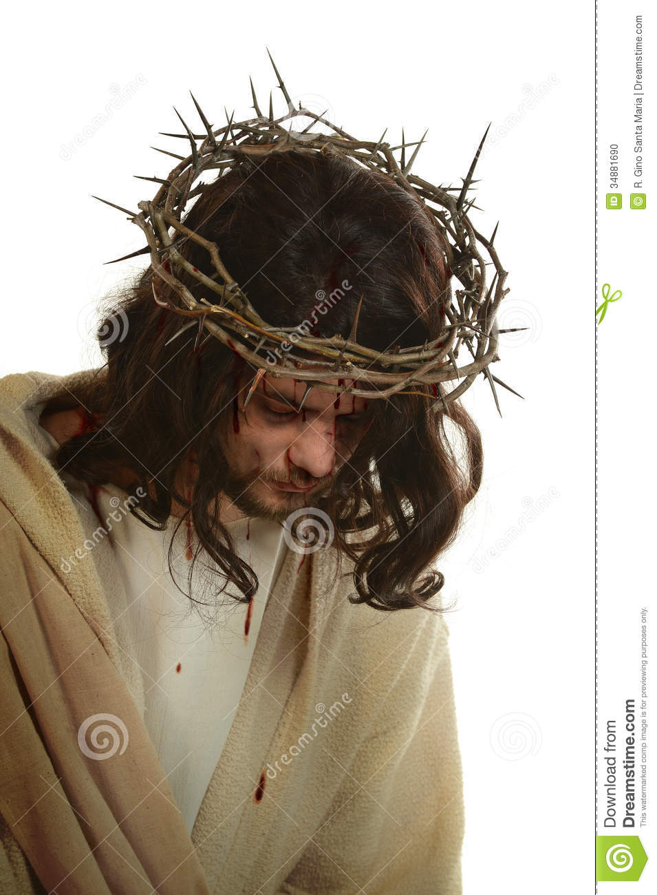 Jesus With Crown Of Thorns Stock Photo Image 34881690