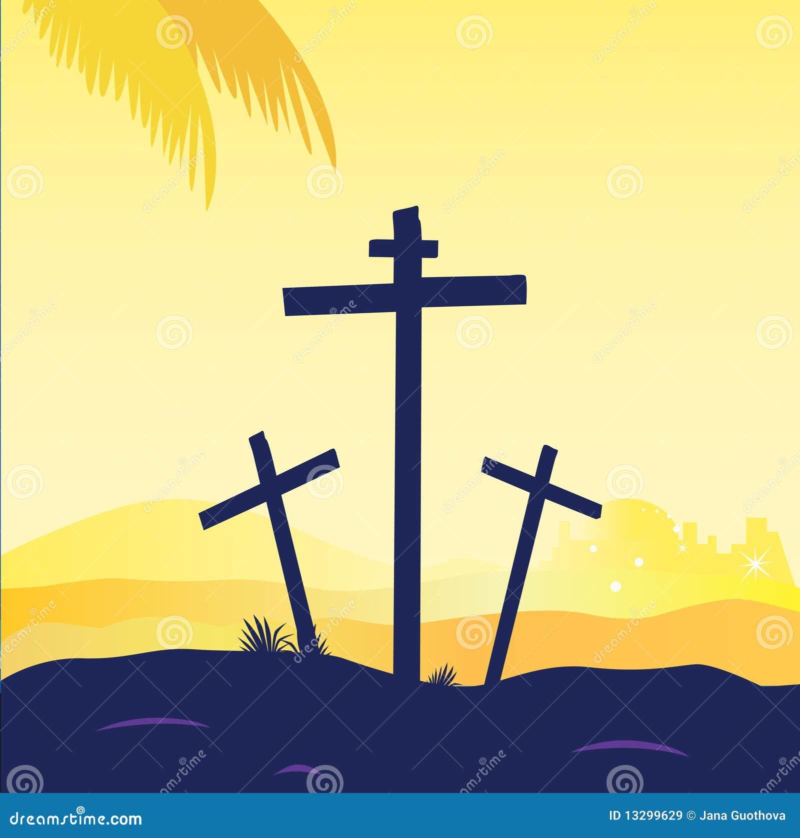 ... sunset scene with crosses. Jesus crucifixion. Vector Illustration