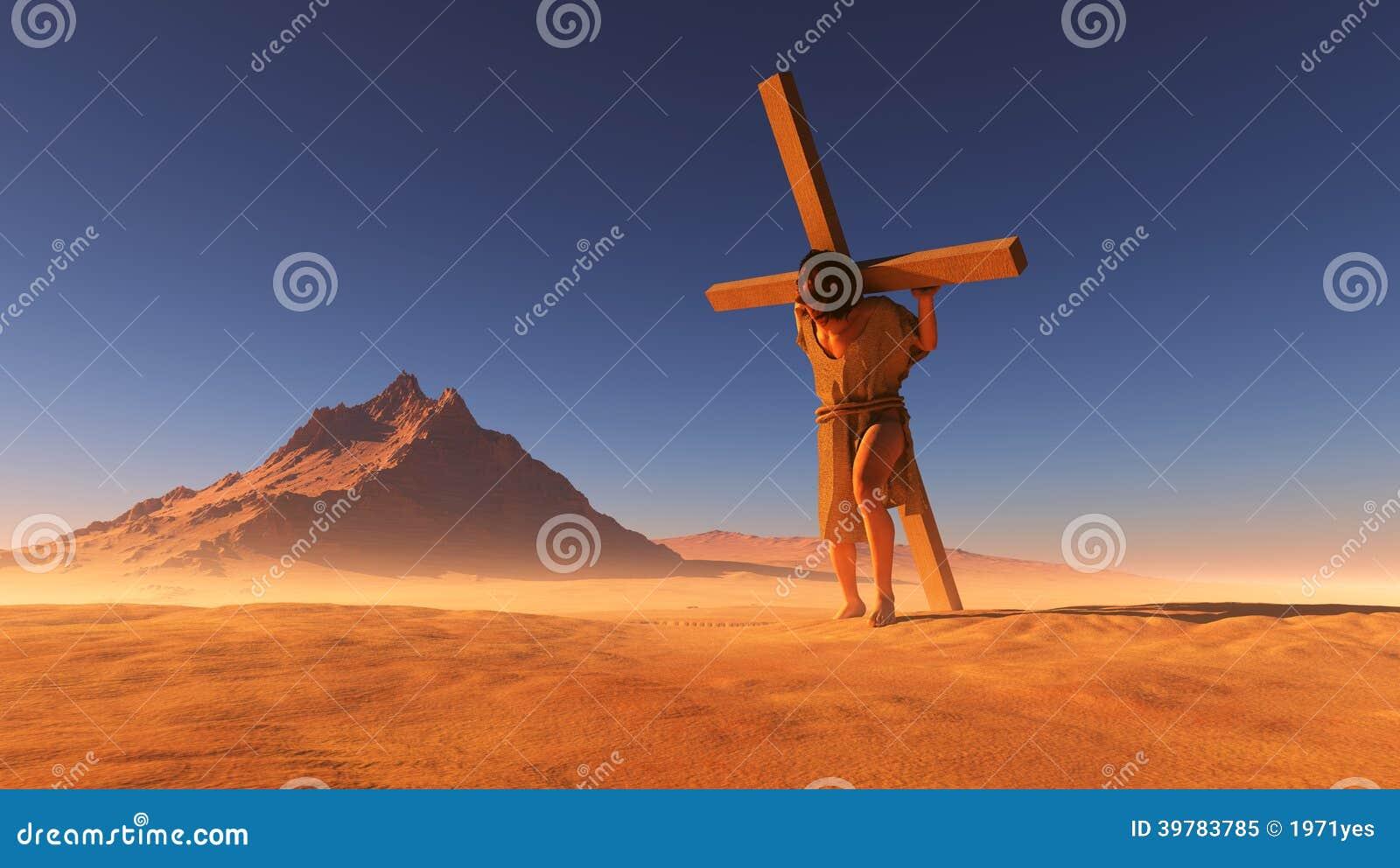 Jesus in de woestijn.