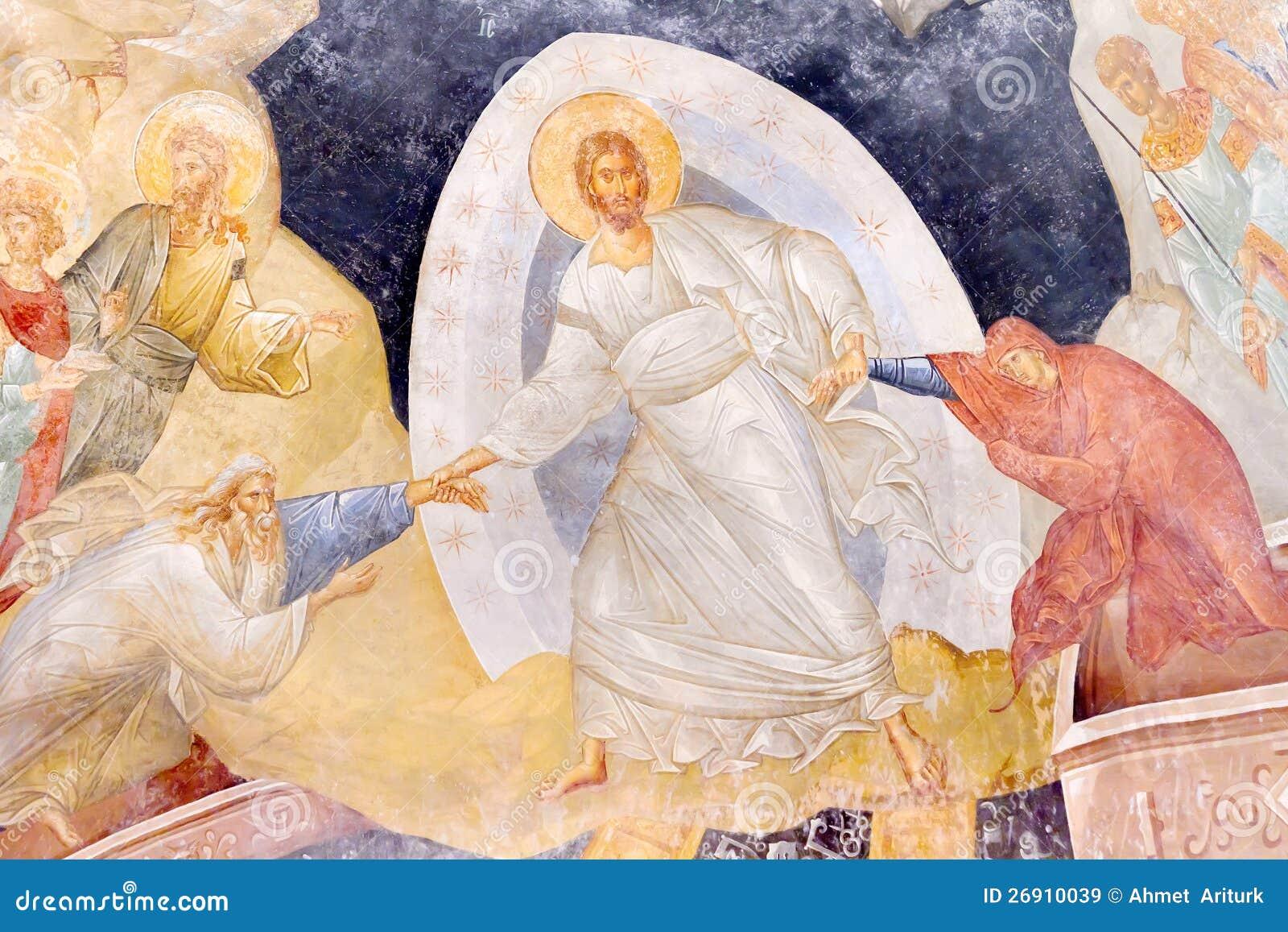 Jesus die Adam en Vooravond opheft