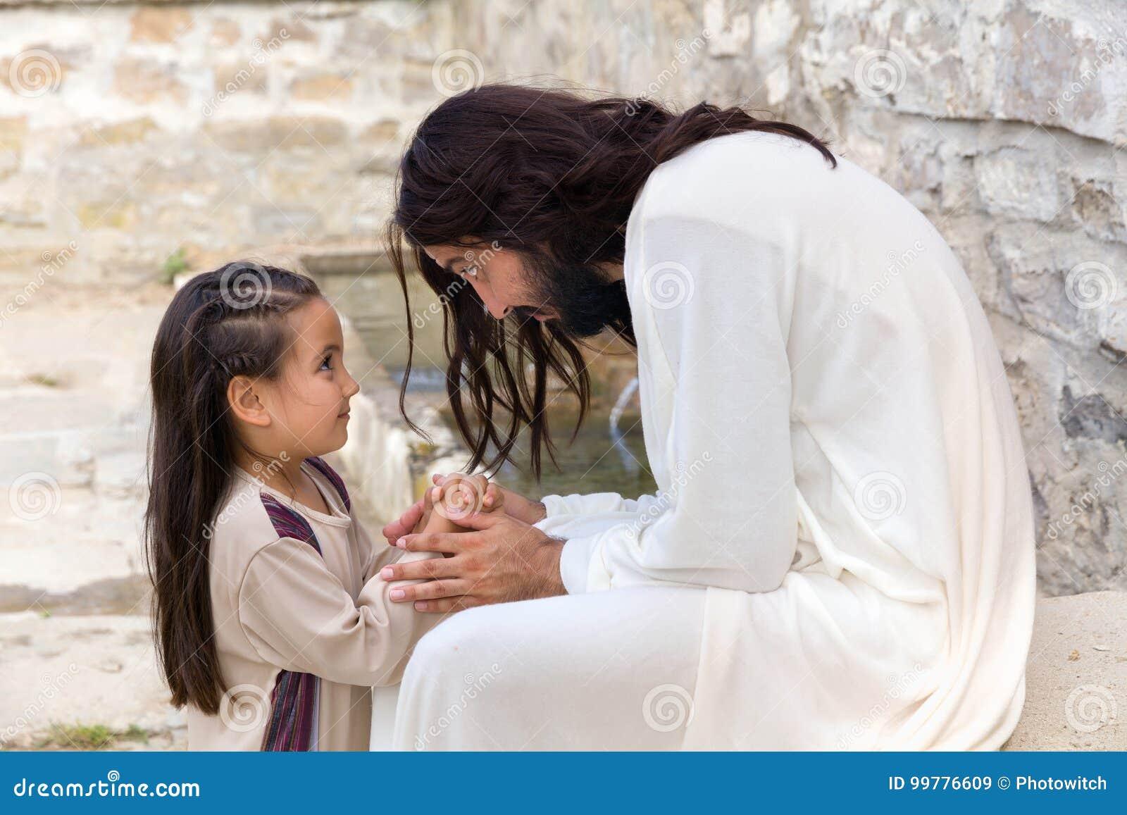 Jesus die een klein meisje onderwijzen