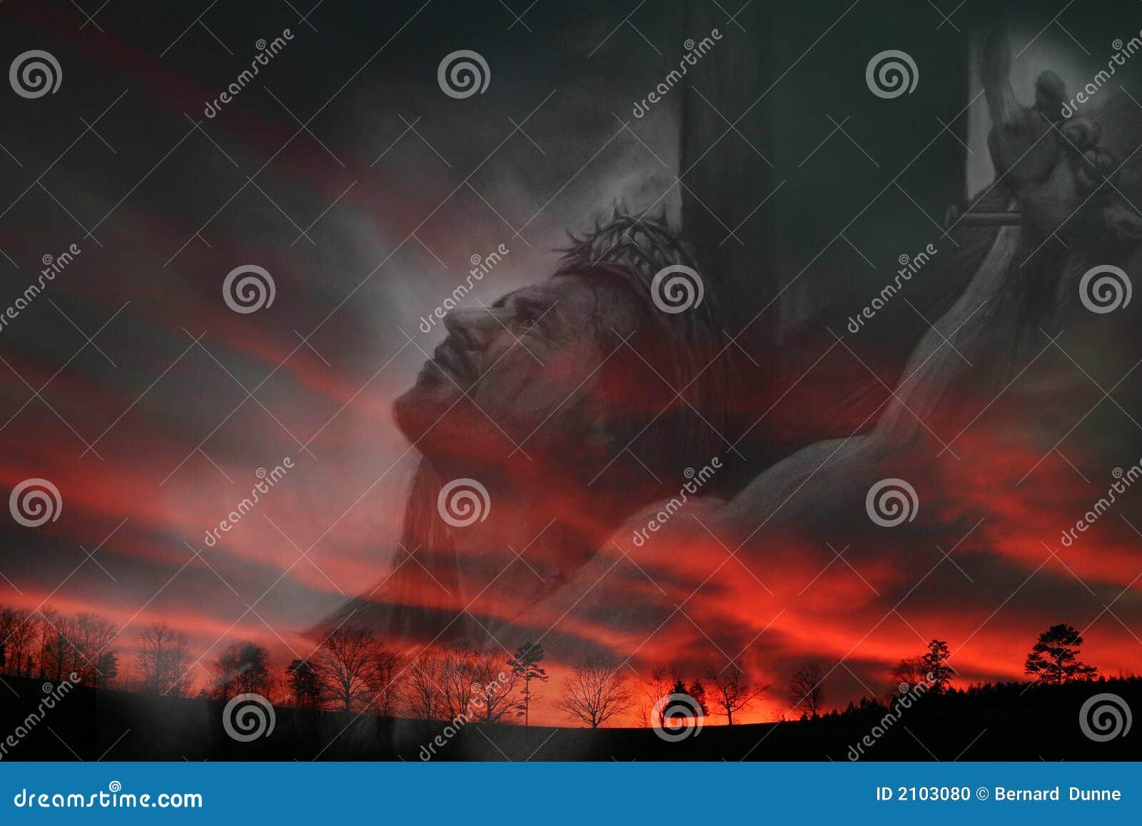 Jesus en zonsondergang