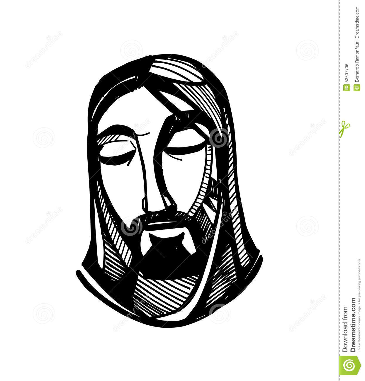 Line Drawing Of Jesus Face : Jesus face stock vector illustration of