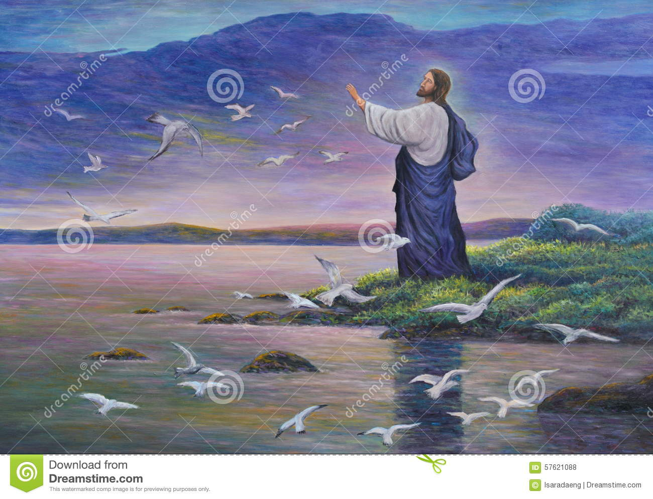 Jesus Feeds Birds Stock Illustration Of Light