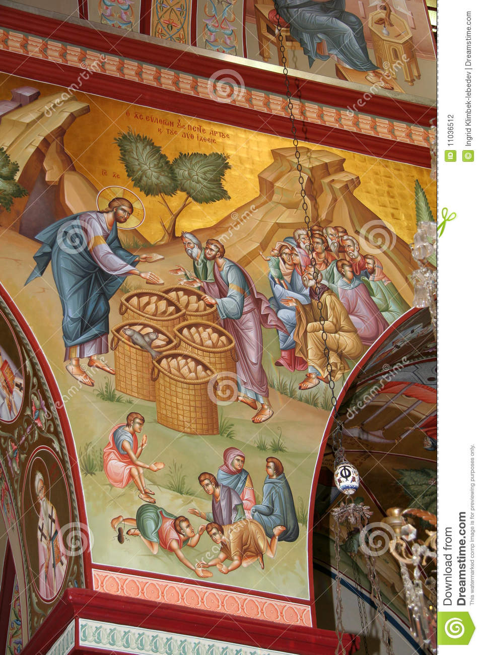 Jesus Feeds The Multitude Fresco Stock Photo