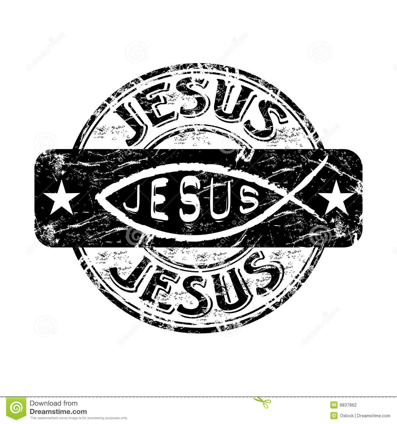 jesus fish rubber stamp stock vector illustration of