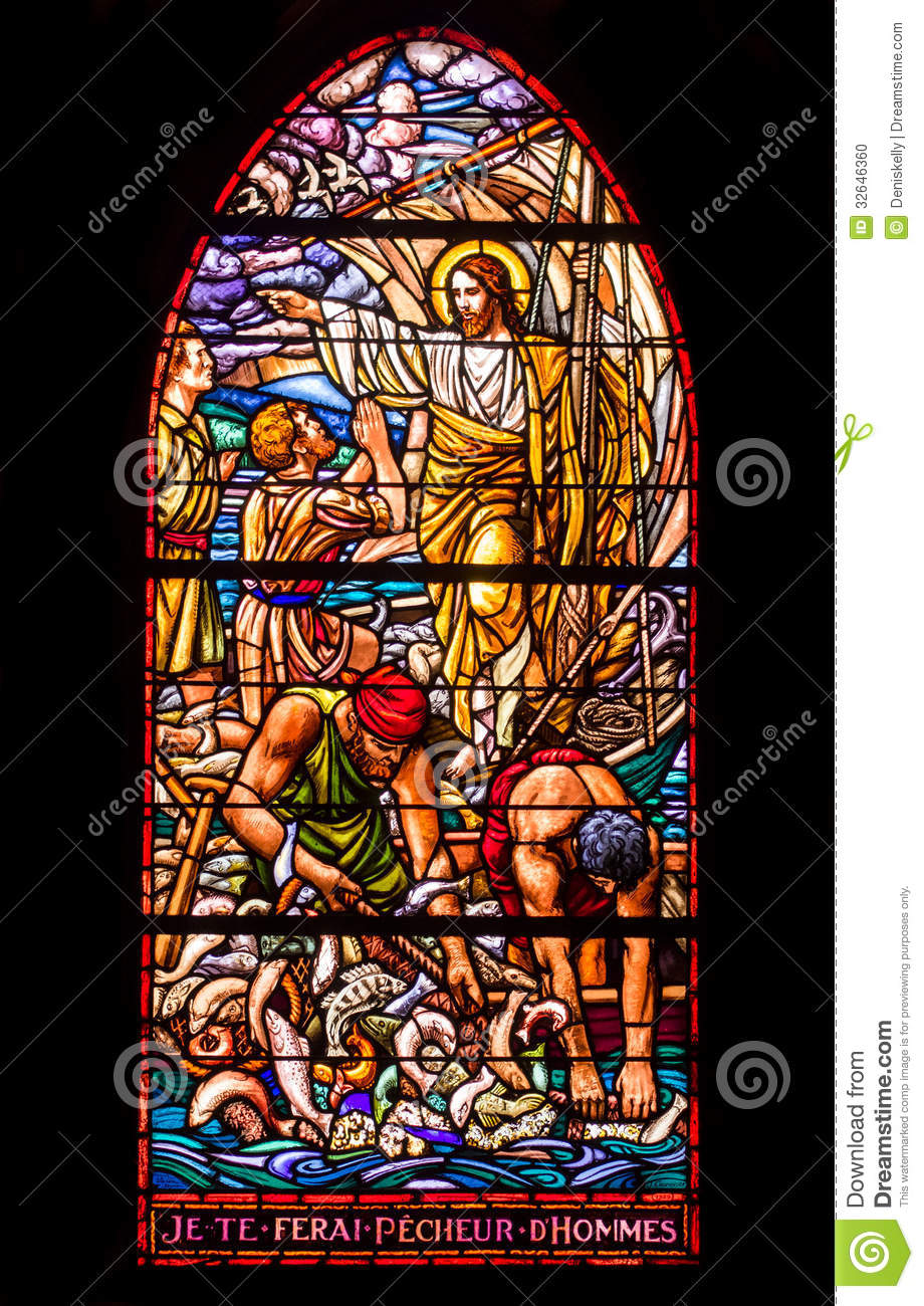 Jesus And Fishermen Stained Glass Window Stock Photo Image 32646360