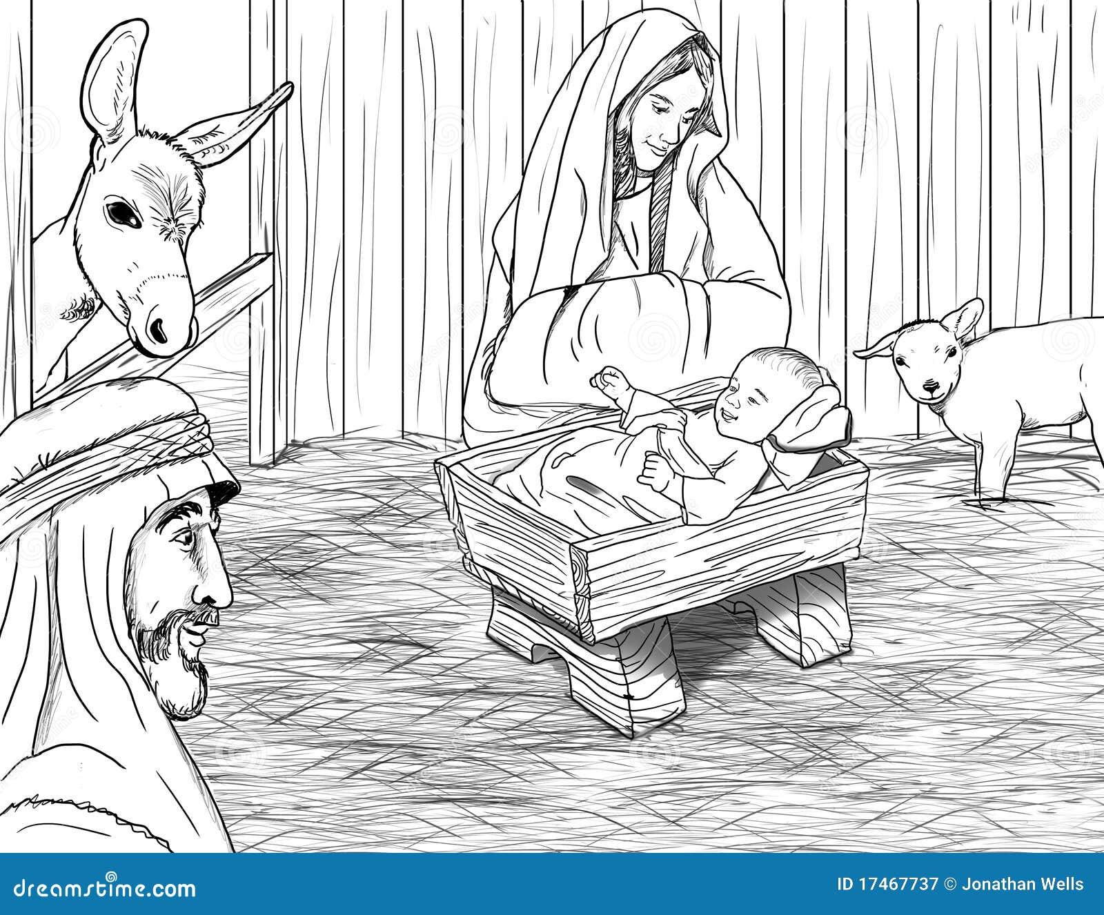 Jesus Geboren In Der Krippe Lizenzfreie Stockfotografie ...