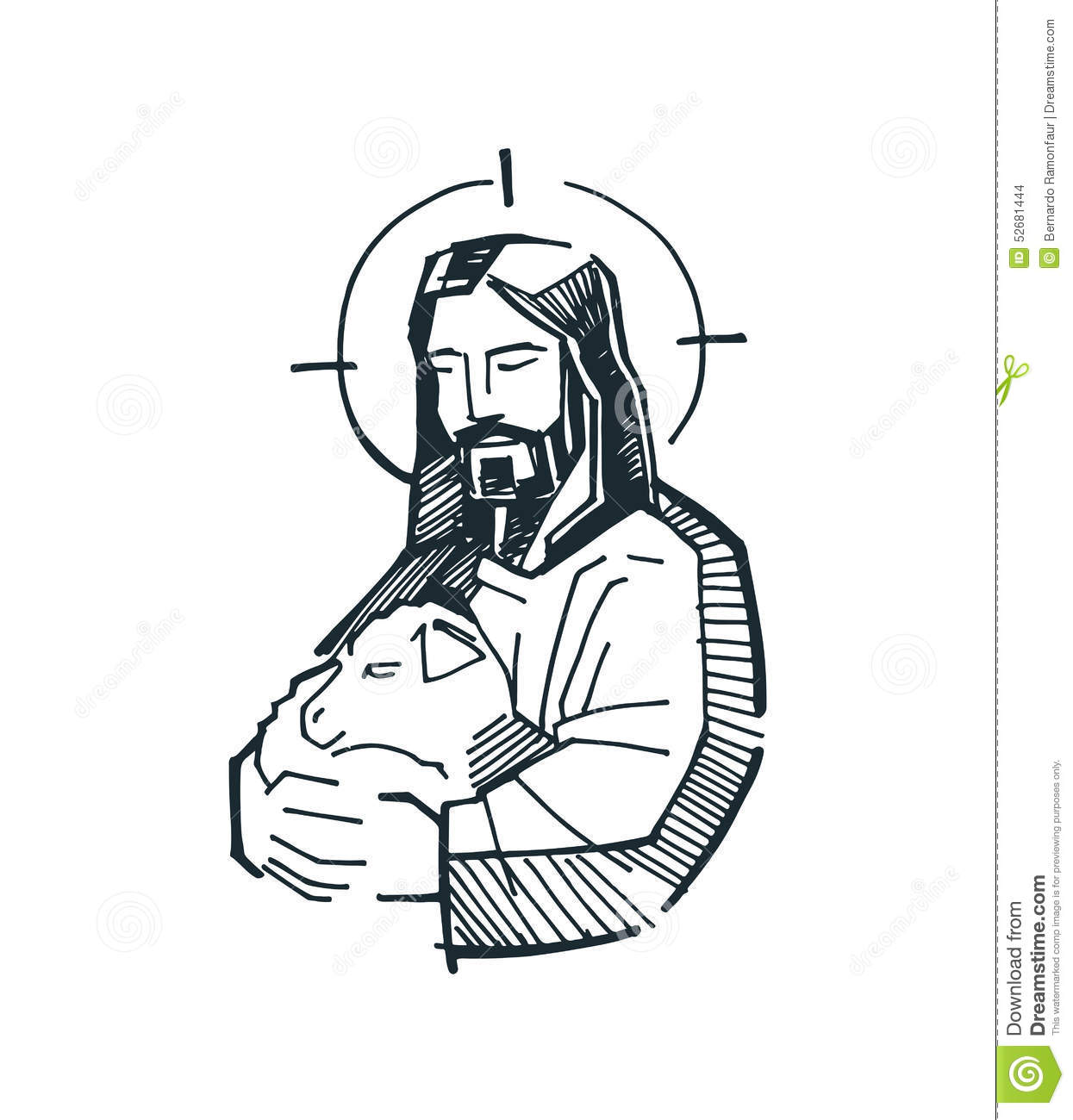 Jesus Good Shepherd G Stock Vector Image 52681444