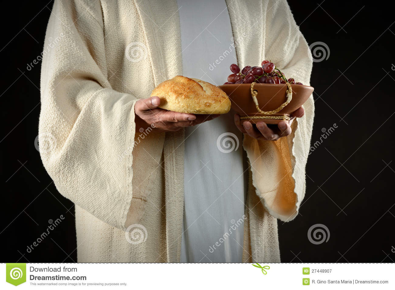 Jesus Hands Holding Bread and Grapes