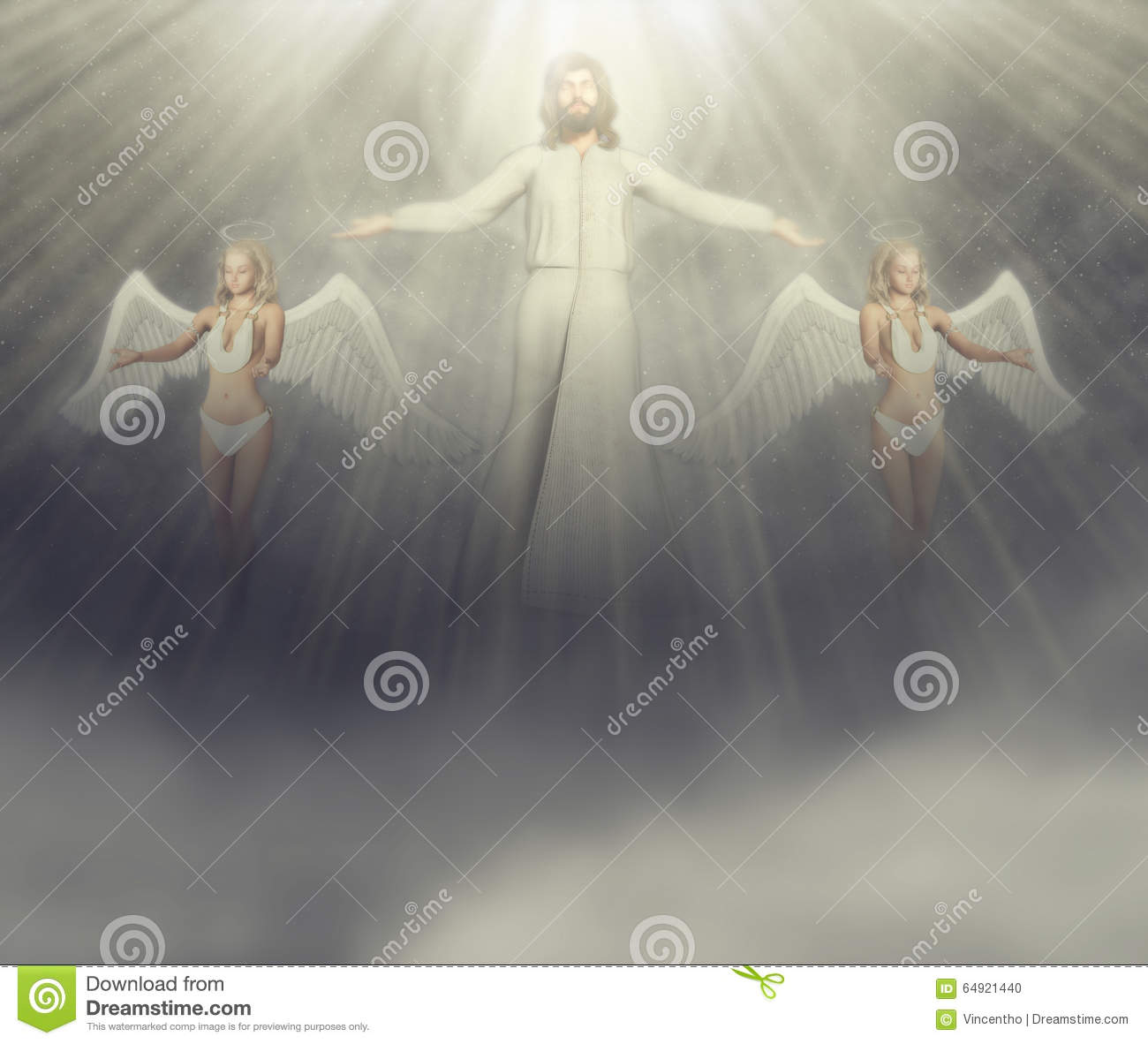 Jesus And His Angels Illustration